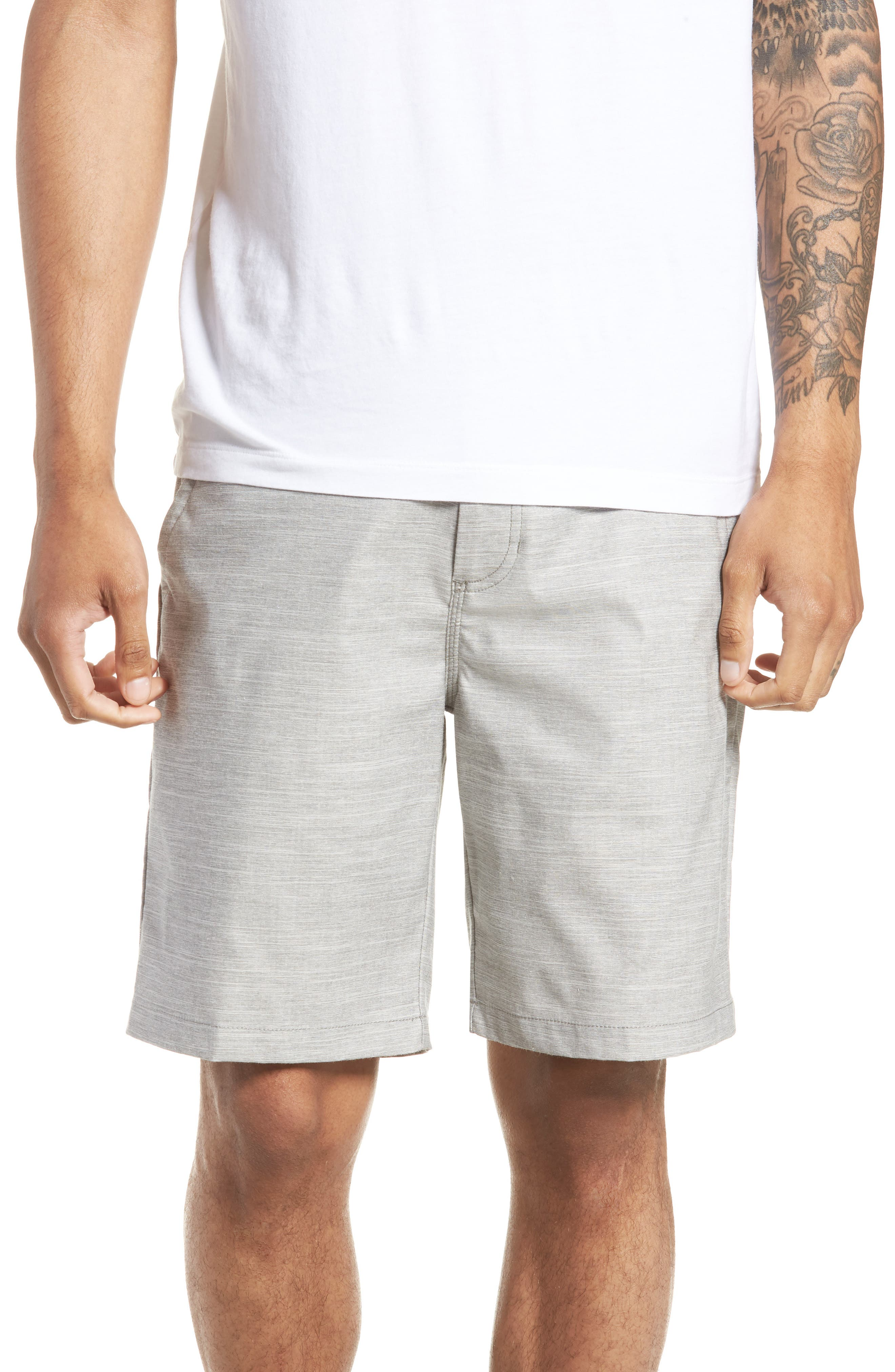 Authentic Heather Decksider Shorts,                             Main thumbnail 1, color,                             Frost Grey Heather