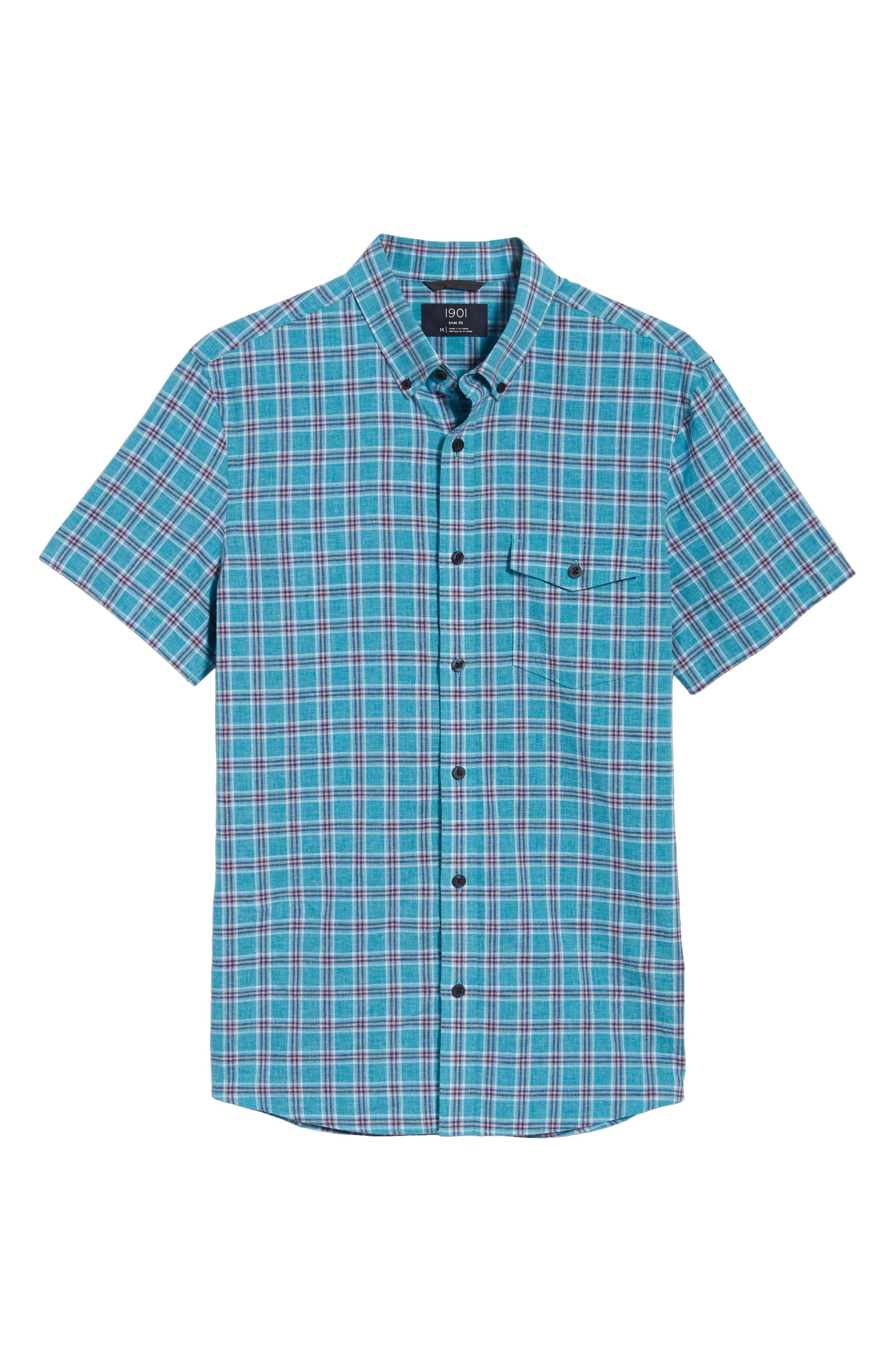 Ivy Trim Fit Plaid Cotton & Linen Sport Shirt,                             Alternate thumbnail 6, color,                             Teal Mosaic Linen Check