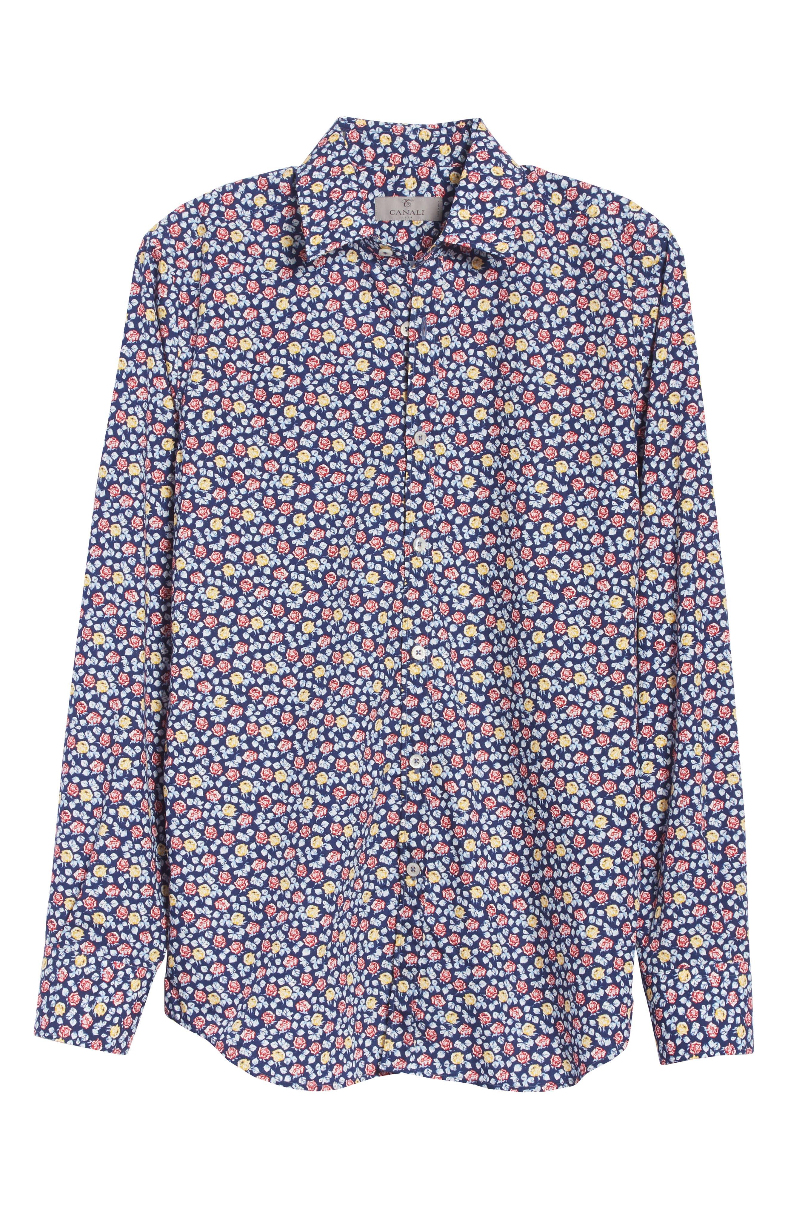Regular Fit Floral Sport Shirt,                             Alternate thumbnail 6, color,                             Blue