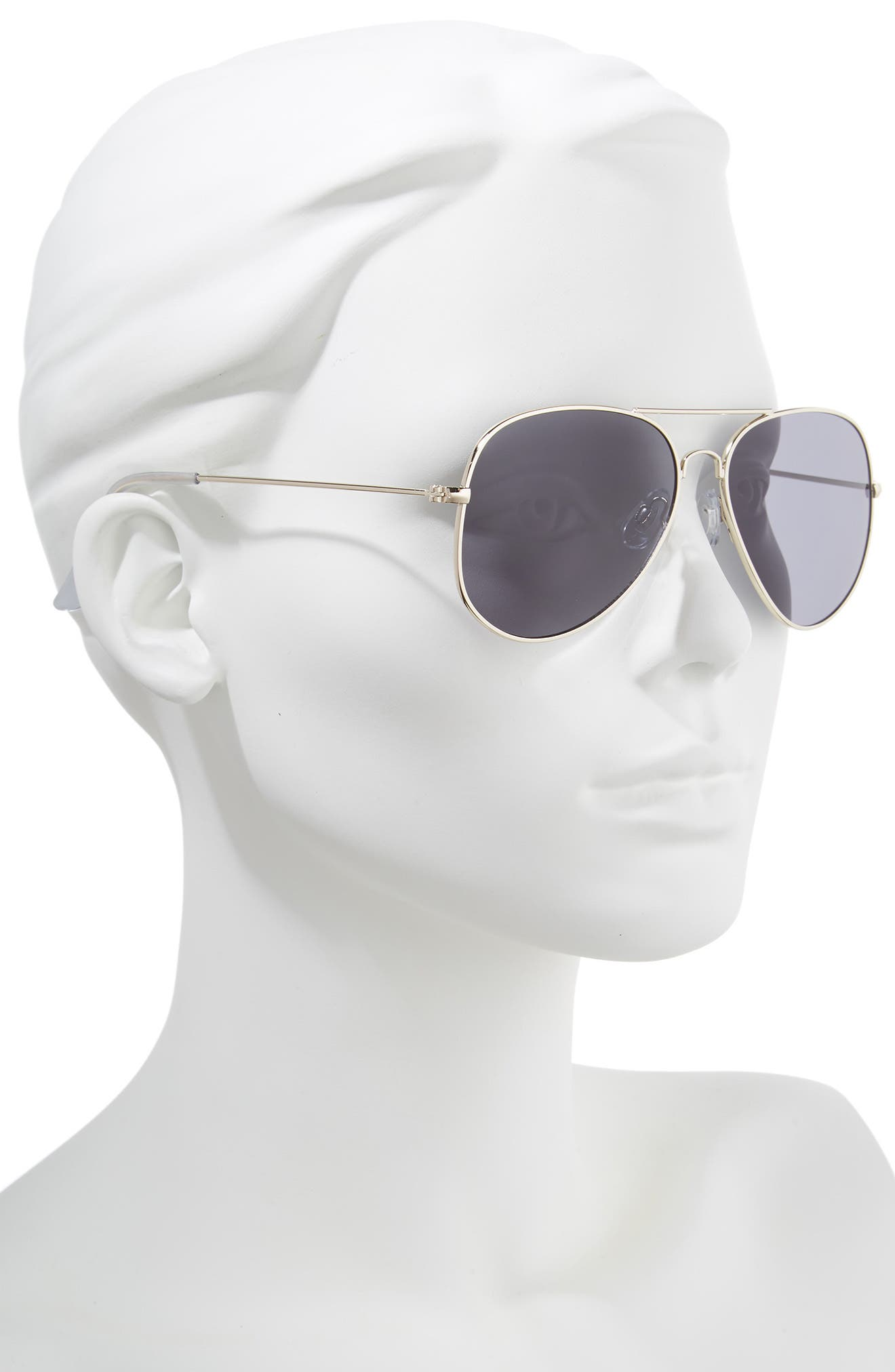 Mirrored Aviator 57mm Sunglasses,                             Alternate thumbnail 2, color,                             Gold/ Smoke