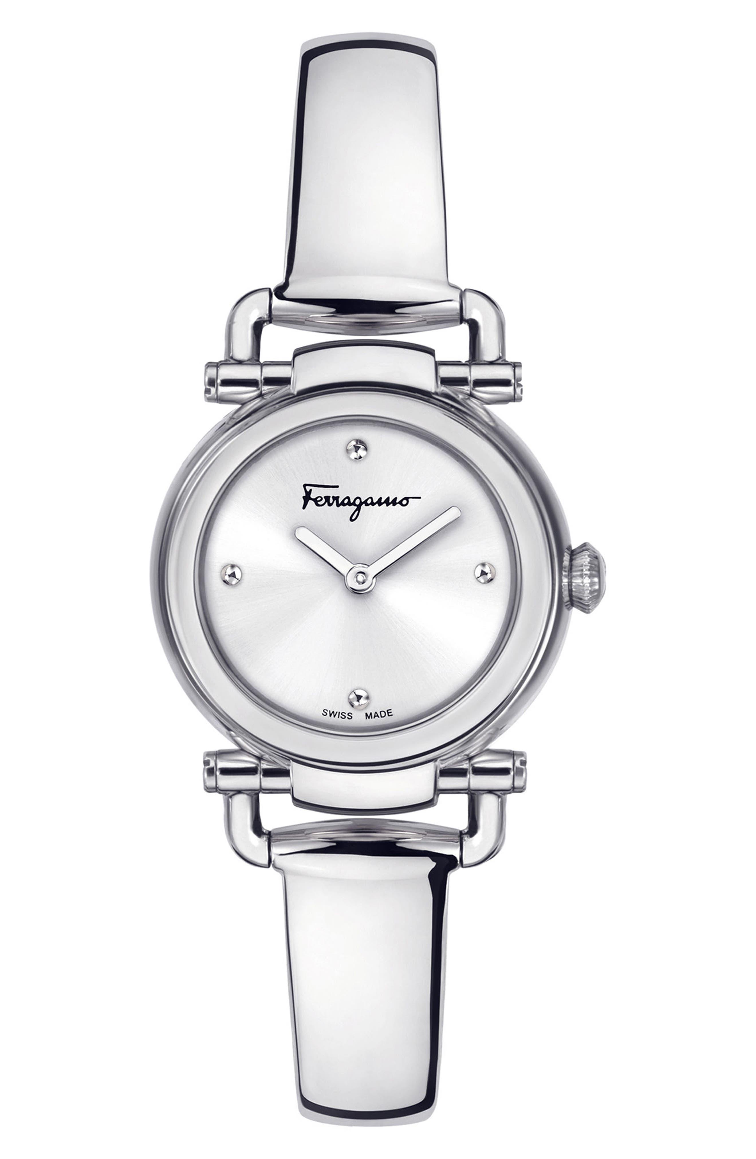Gancino Bangle Watch, 26mm,                             Main thumbnail 1, color,                             Silver