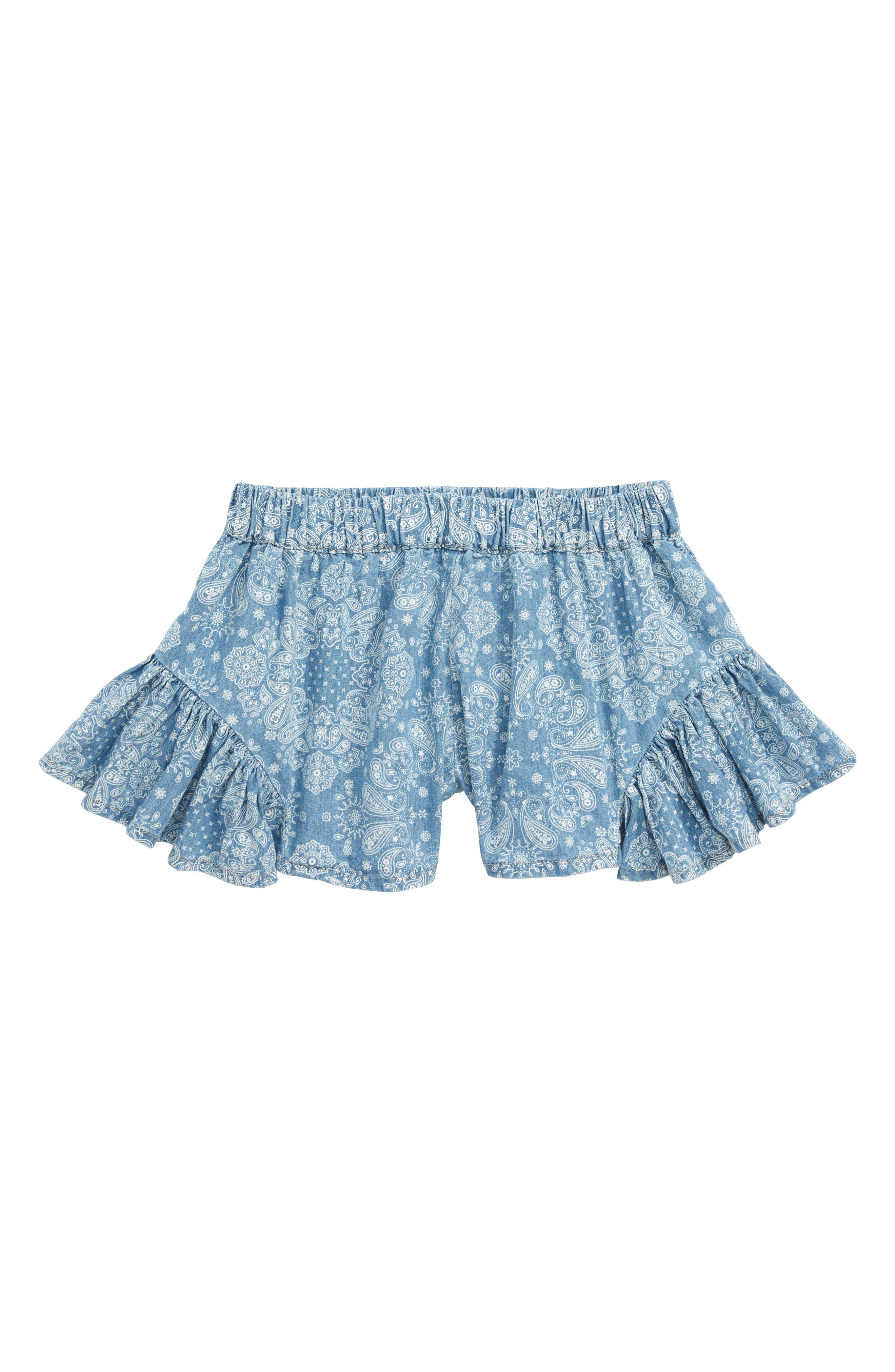 Bandana Print Ruffle Shorts,                             Main thumbnail 1, color,                             Chambray