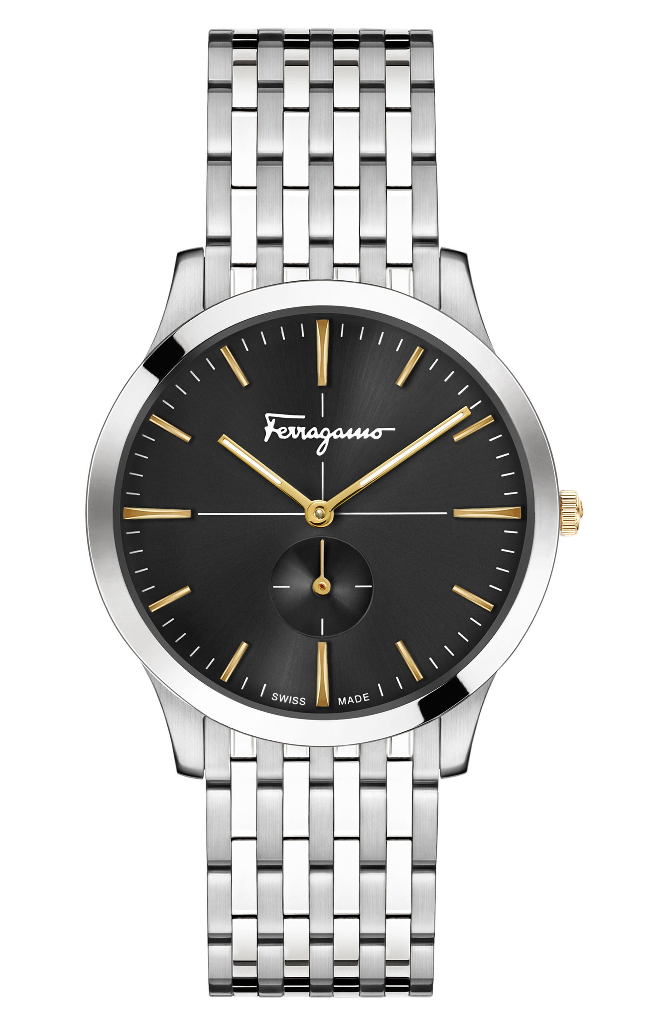 Slim Formal Bracelet Watch, 40mm,                         Main,                         color, Silver/ Black/ Silver