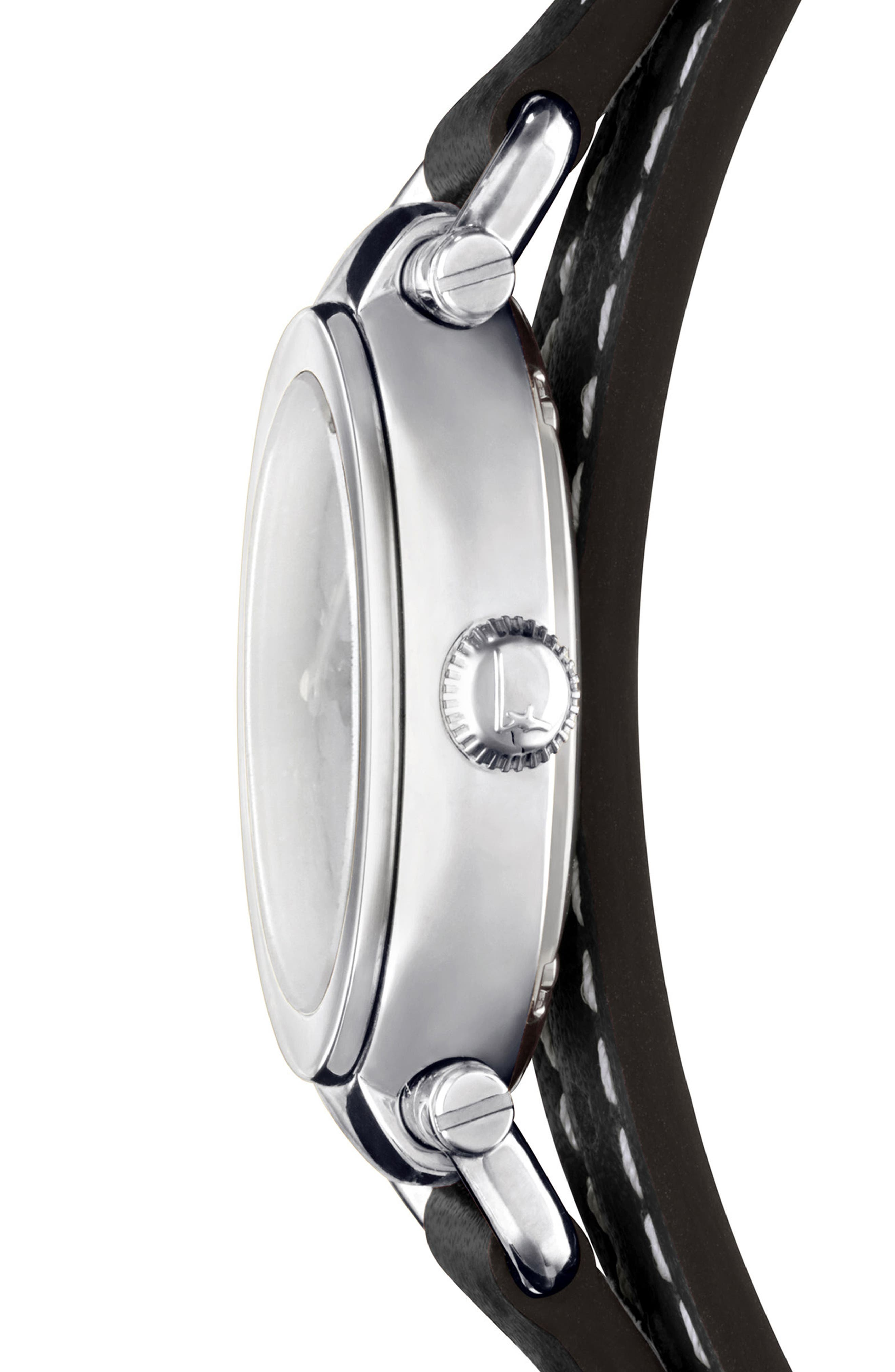 Gancino Leather Strap Watch, 26mm,                             Alternate thumbnail 3, color,                             Black/ Silver