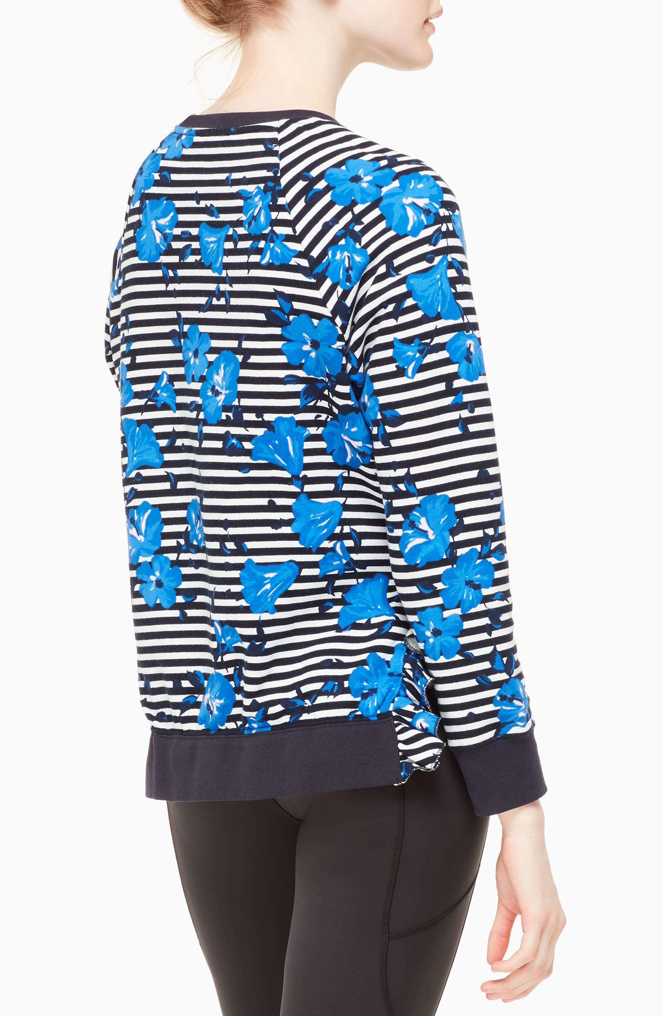 hibiscus stripe sweatshirt,                             Alternate thumbnail 2, color,                             Rich Navy