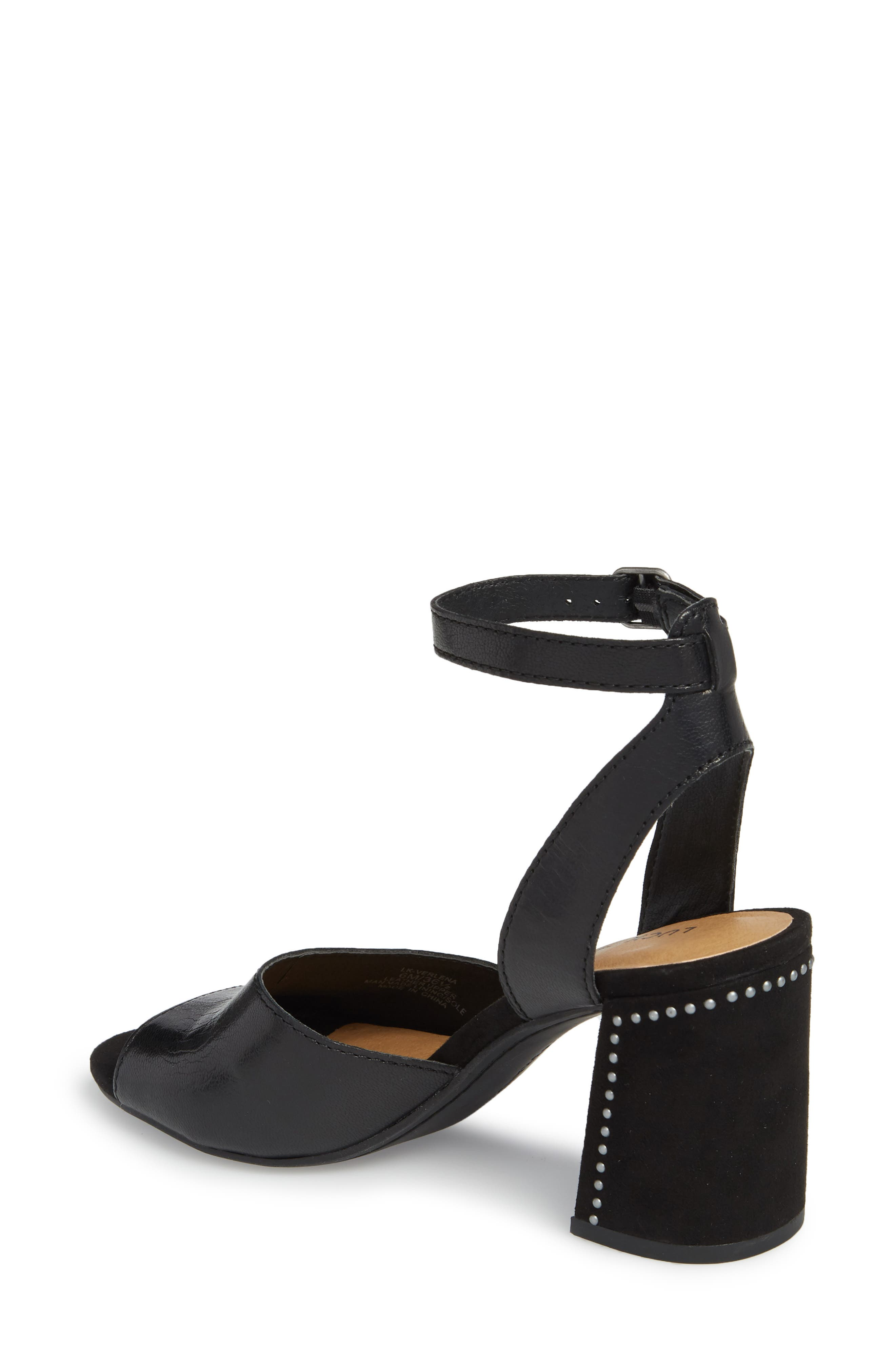Verlena Sandal,                             Alternate thumbnail 2, color,                             Black Leather