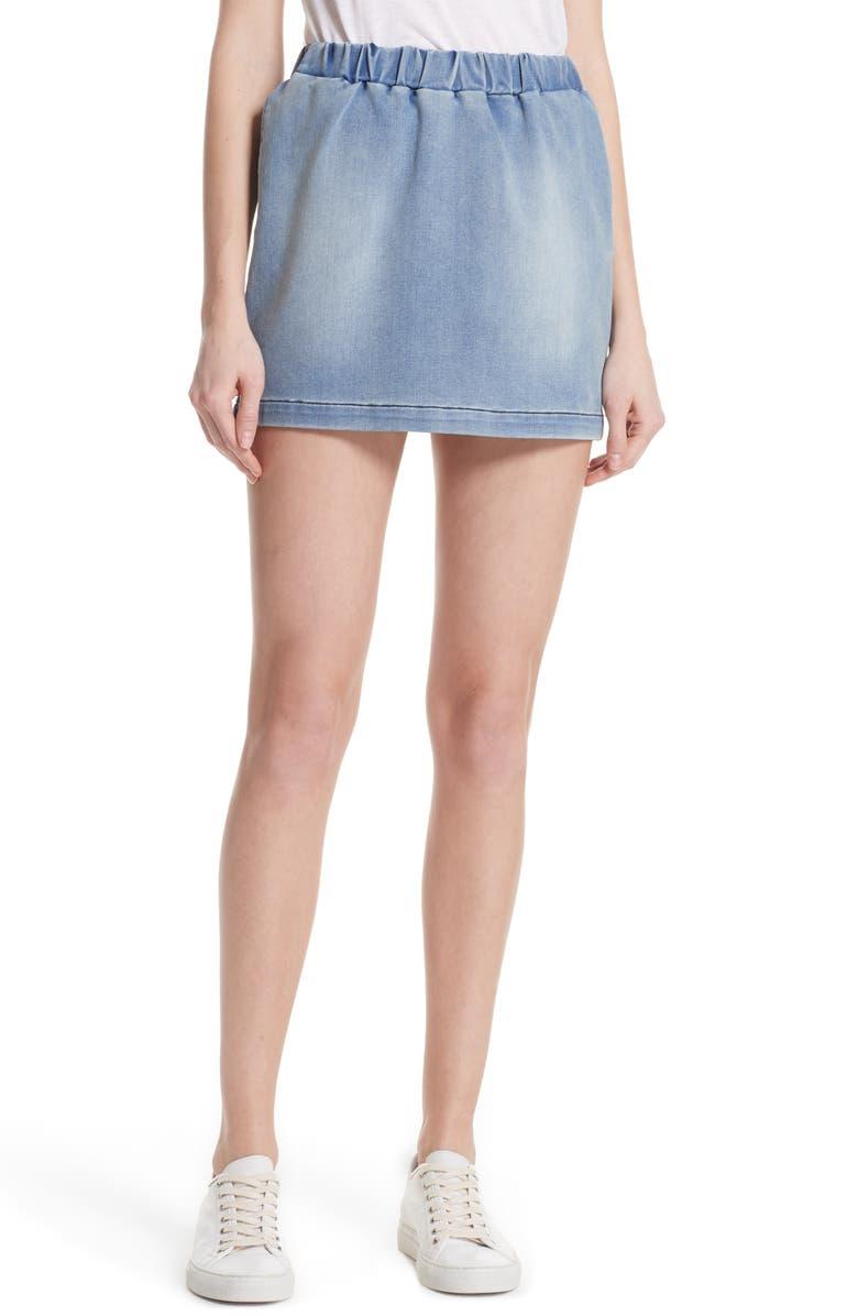 Pull-On Denim Miniskirt