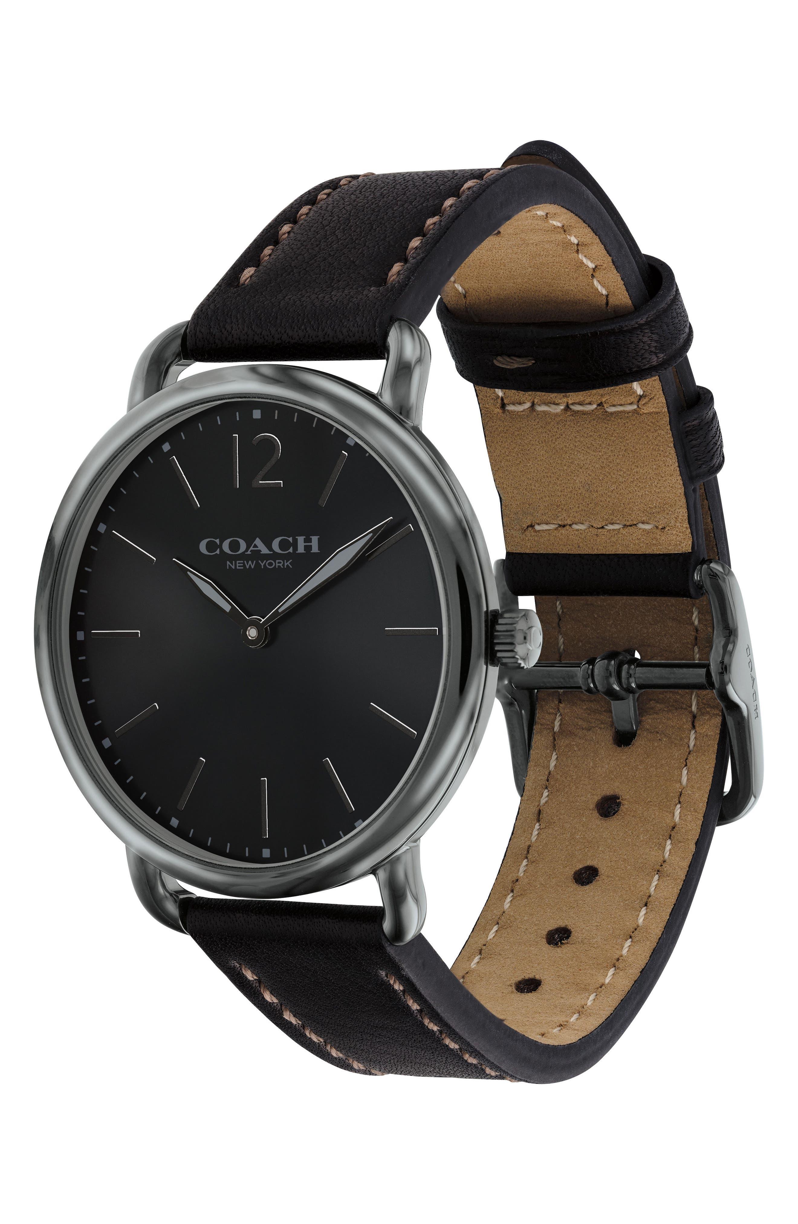 Delancey Leather Strap Watch, 40mm,                             Alternate thumbnail 3, color,                             Black