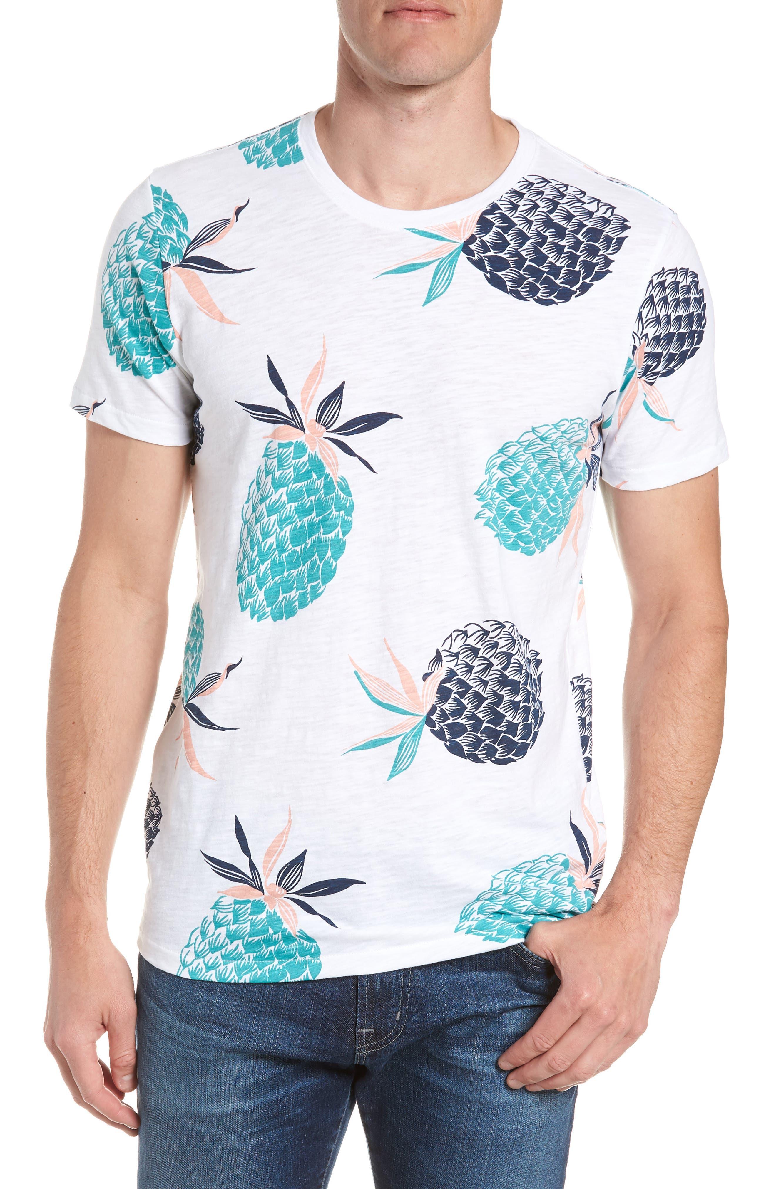 Pineapple Party Slim Fit T-Shirt,                             Main thumbnail 1, color,                             White/ Latigo Bay/ Sorbet