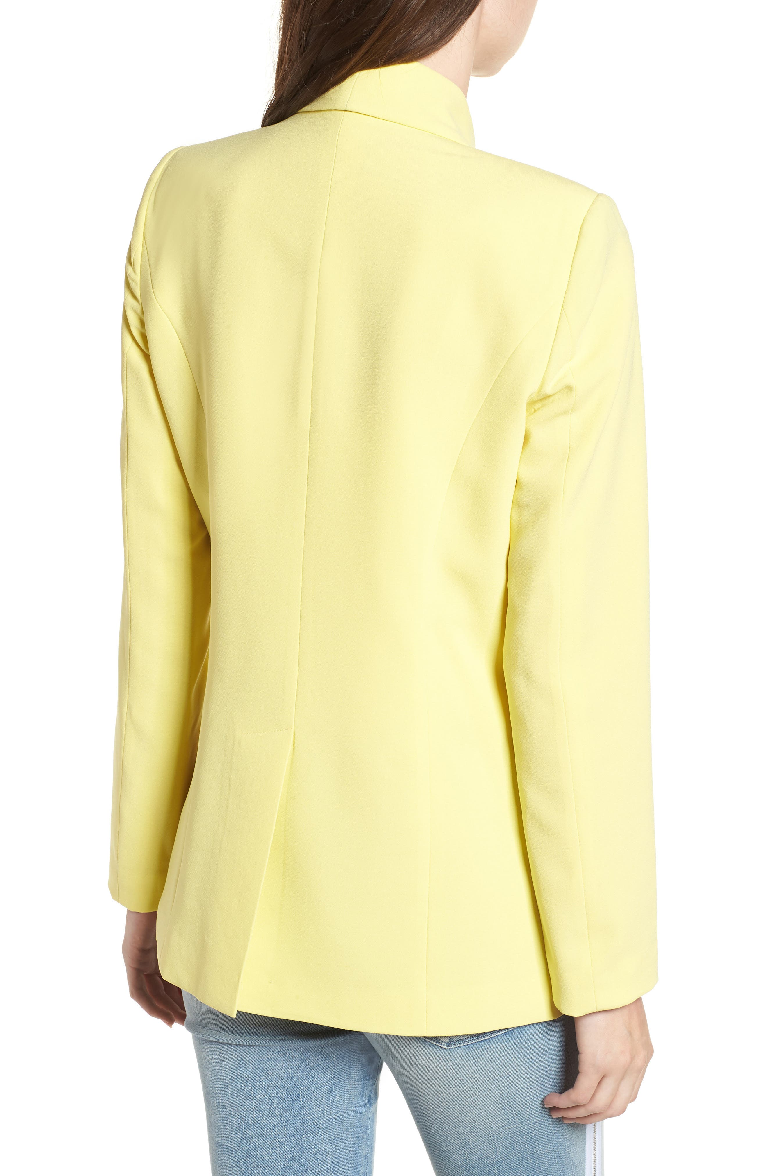 Slouchy Boyfriend Blazer,                             Alternate thumbnail 2, color,                             Yellow Canary