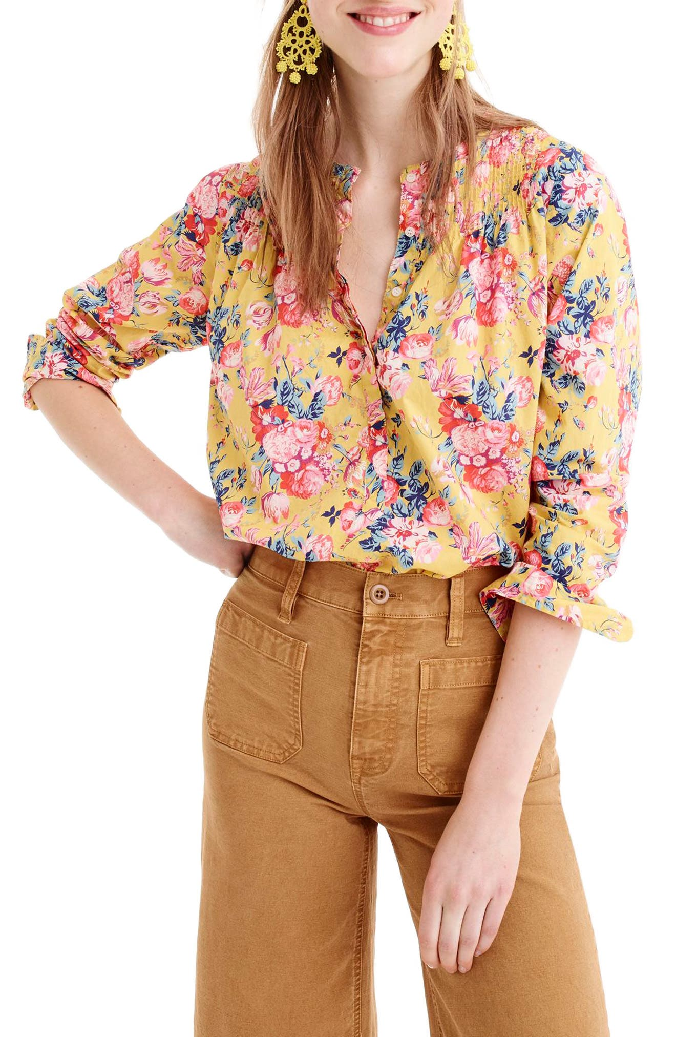 Liberty<sup>®</sup> Magical Bouquet Classic Popover Top,                             Main thumbnail 1, color,                             Yellow Multi