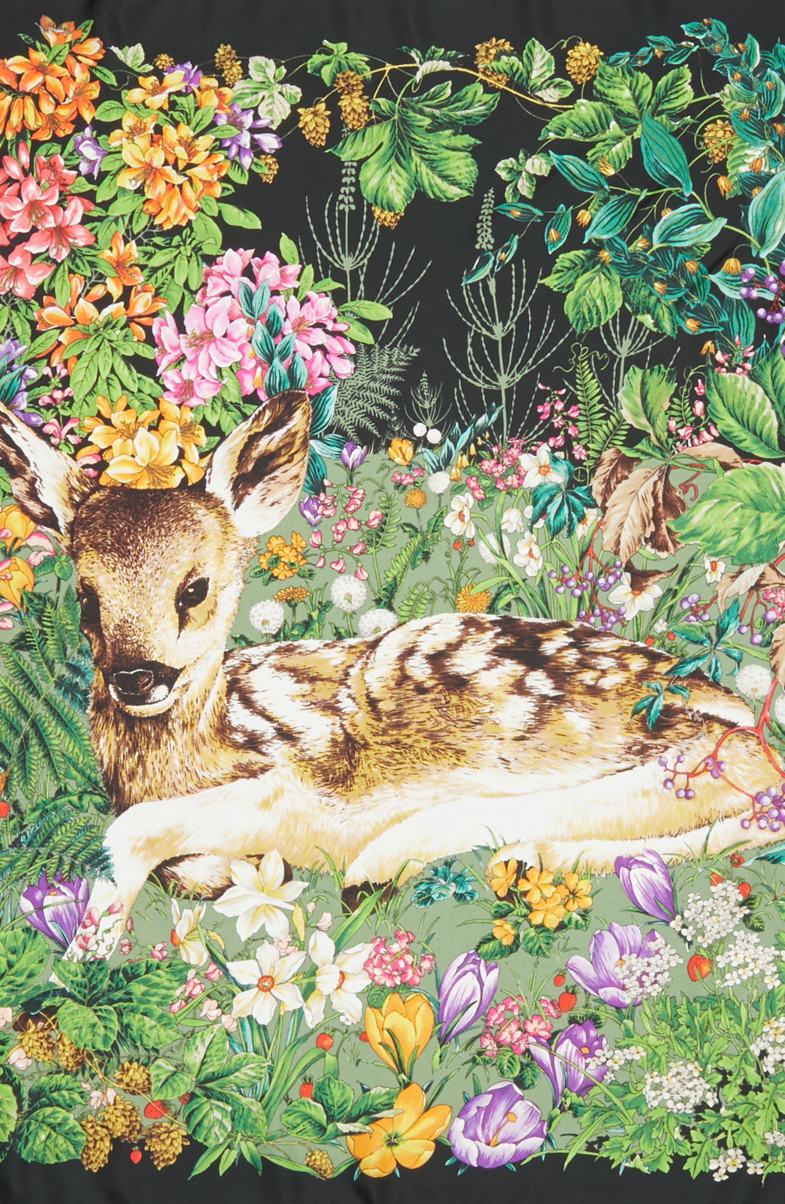 Flower Deer Foulard Silk Twill Scarf,                             Alternate thumbnail 4, color,                             Black/ Multicolor