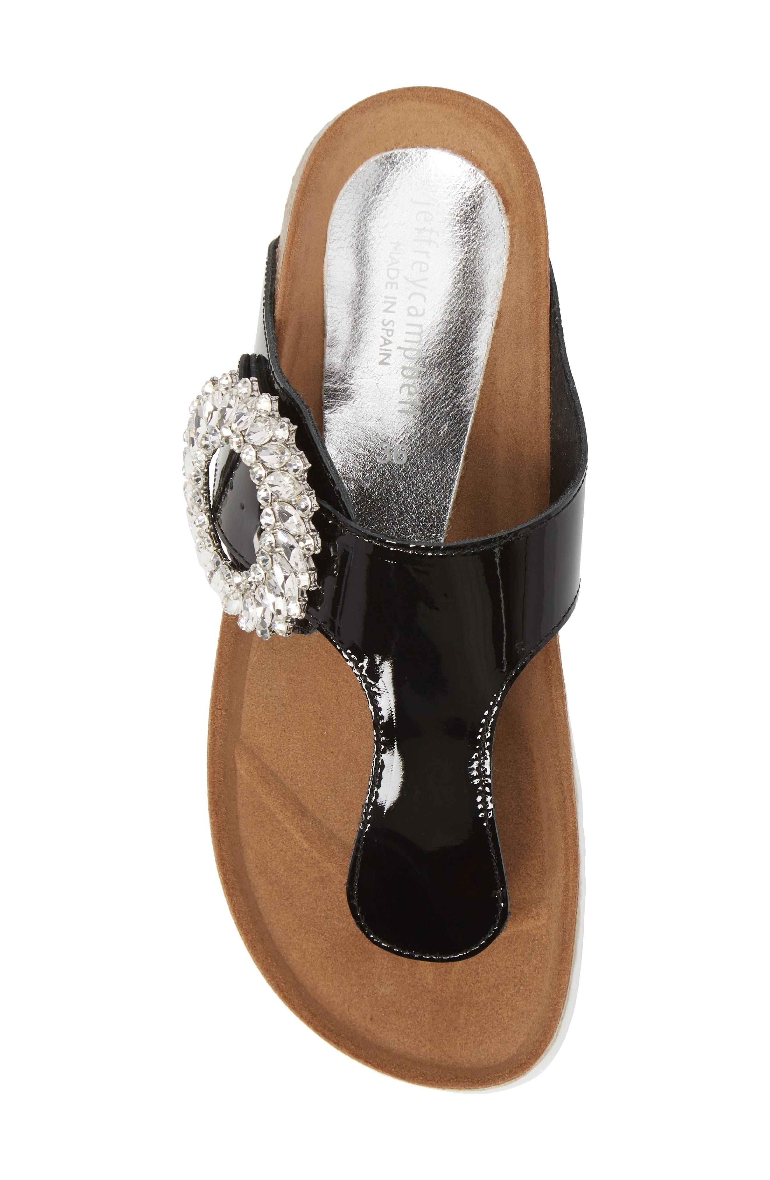 Madeira Embellished T-Strap Sandal,                             Alternate thumbnail 5, color,                             Black Patent/ Black Silver