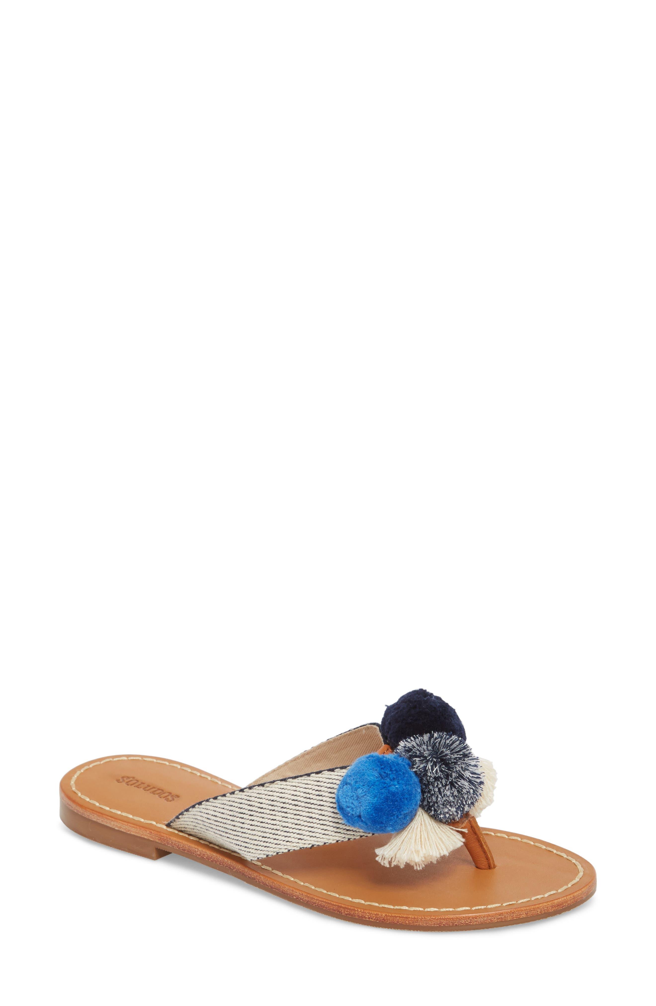 Capri Pompom Flip Flop,                         Main,                         color, Navy/ Natural