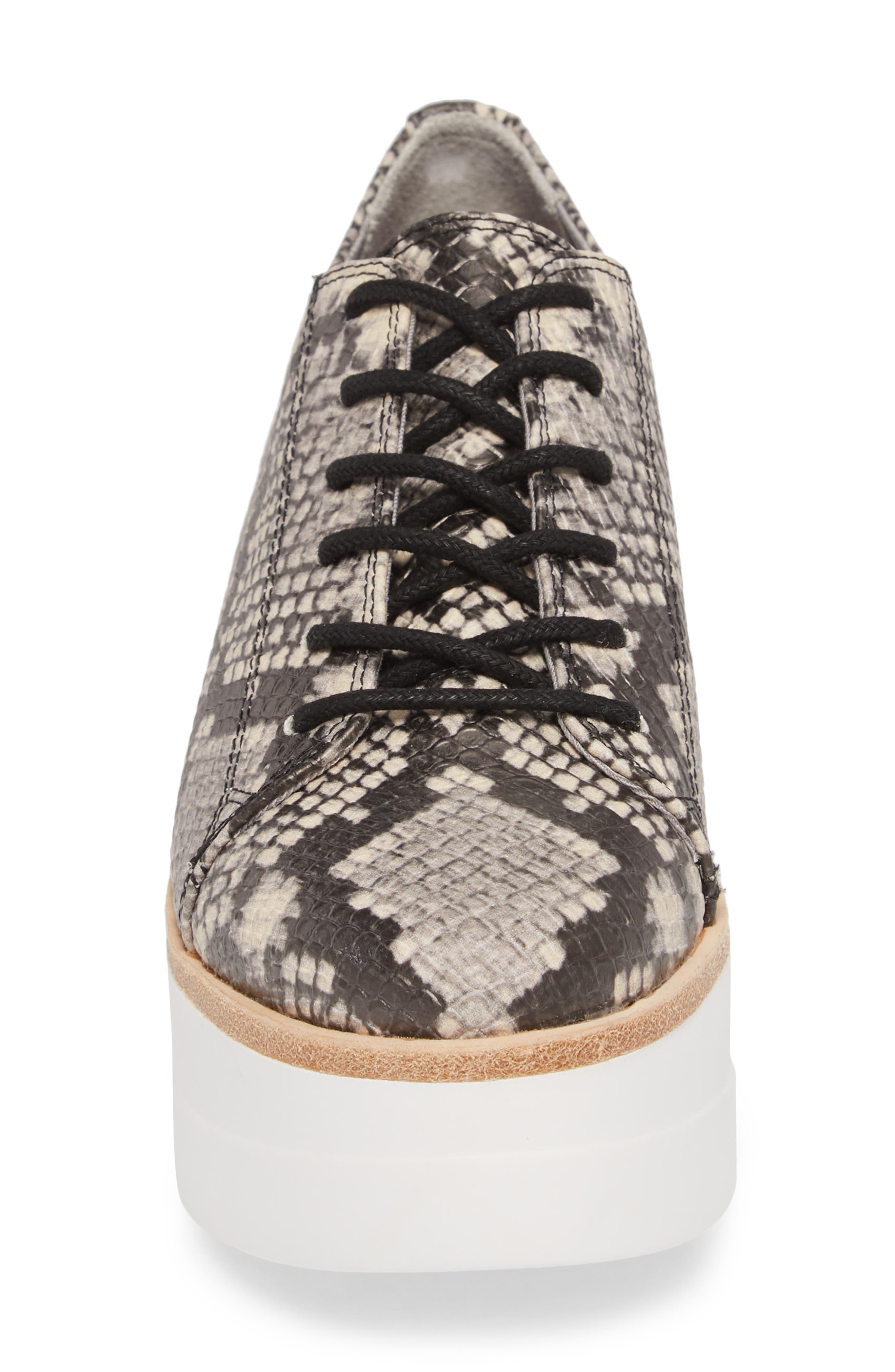 Kimber Wedge Platform Sneaker,                             Alternate thumbnail 4, color,                             Natural Snake Print