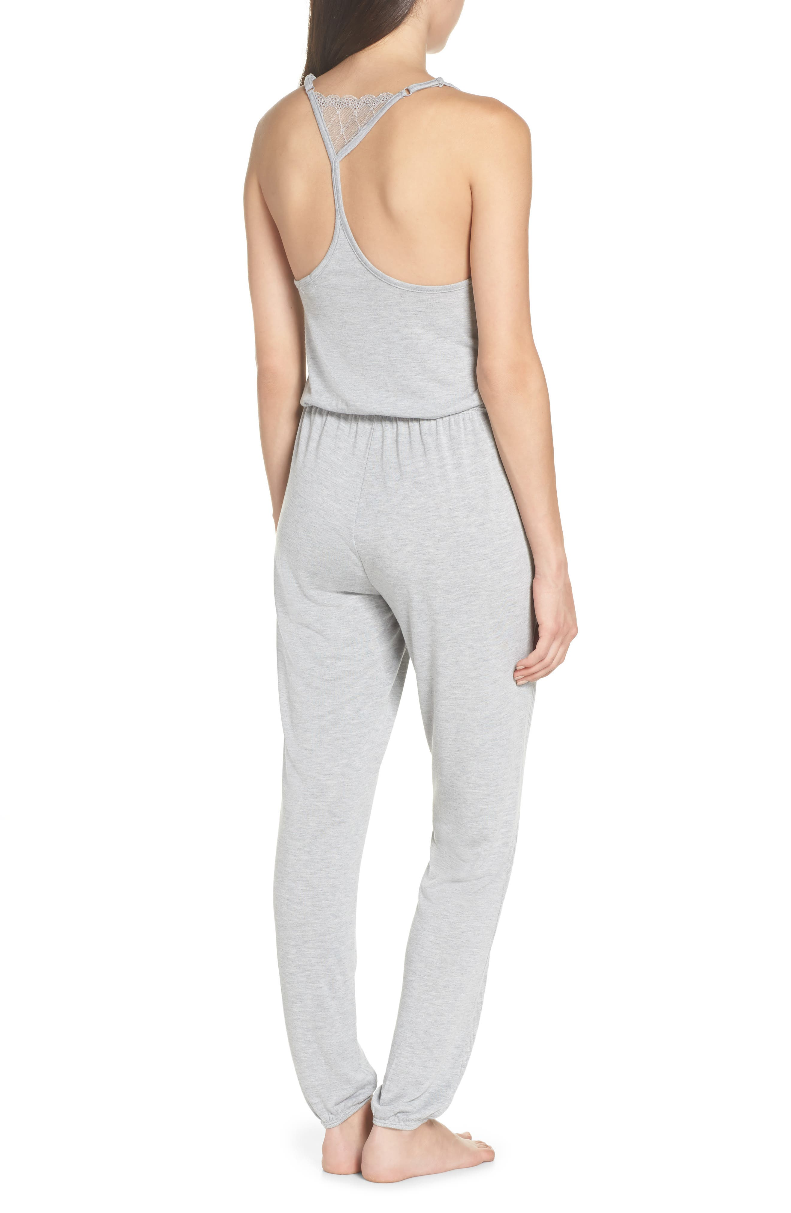 Romper Pajamas,                             Alternate thumbnail 2, color,                             Light Heather Grey
