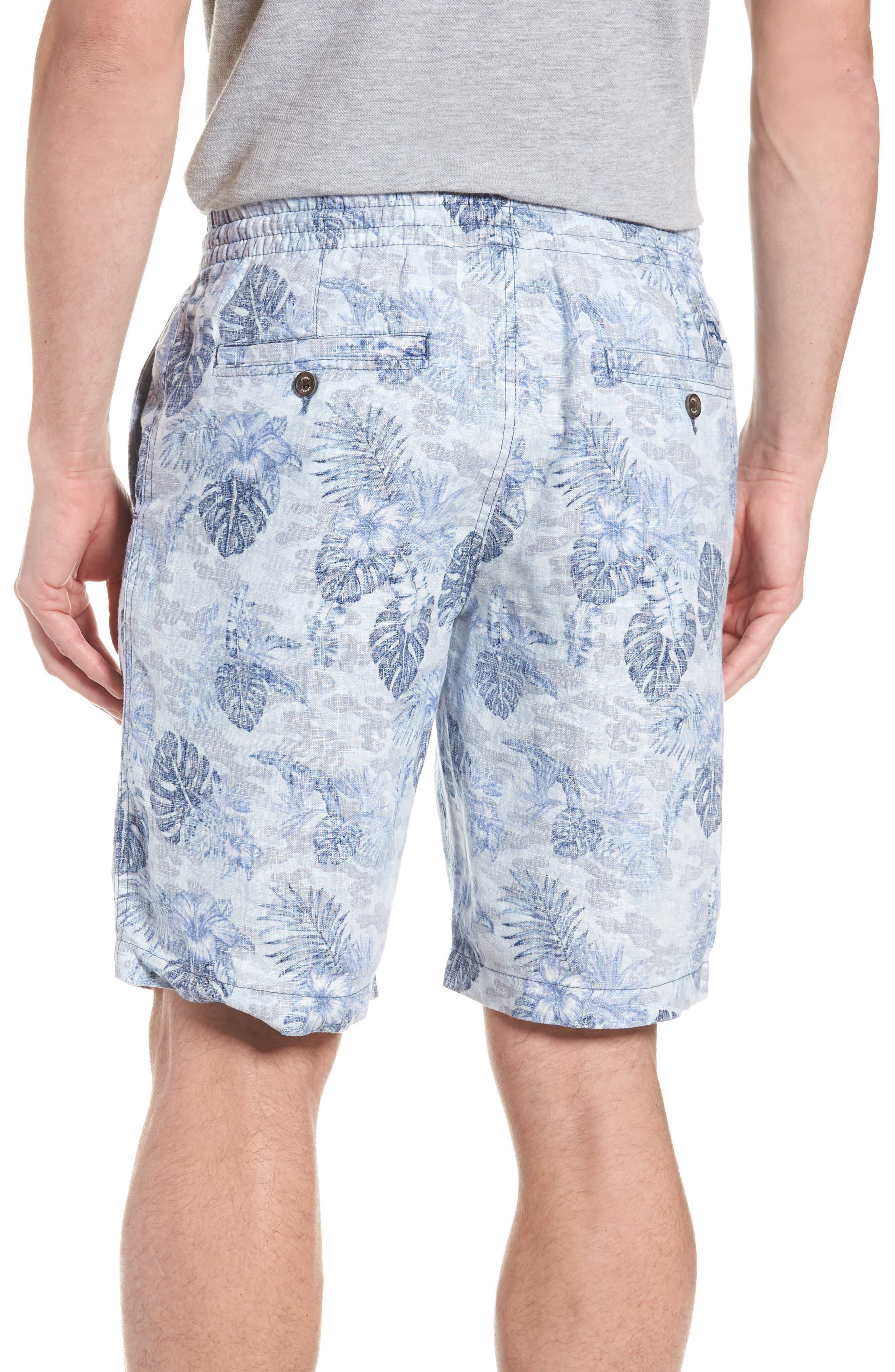 Tidal Palms Linen Shorts,                             Alternate thumbnail 2, color,                             Med Sky Blue