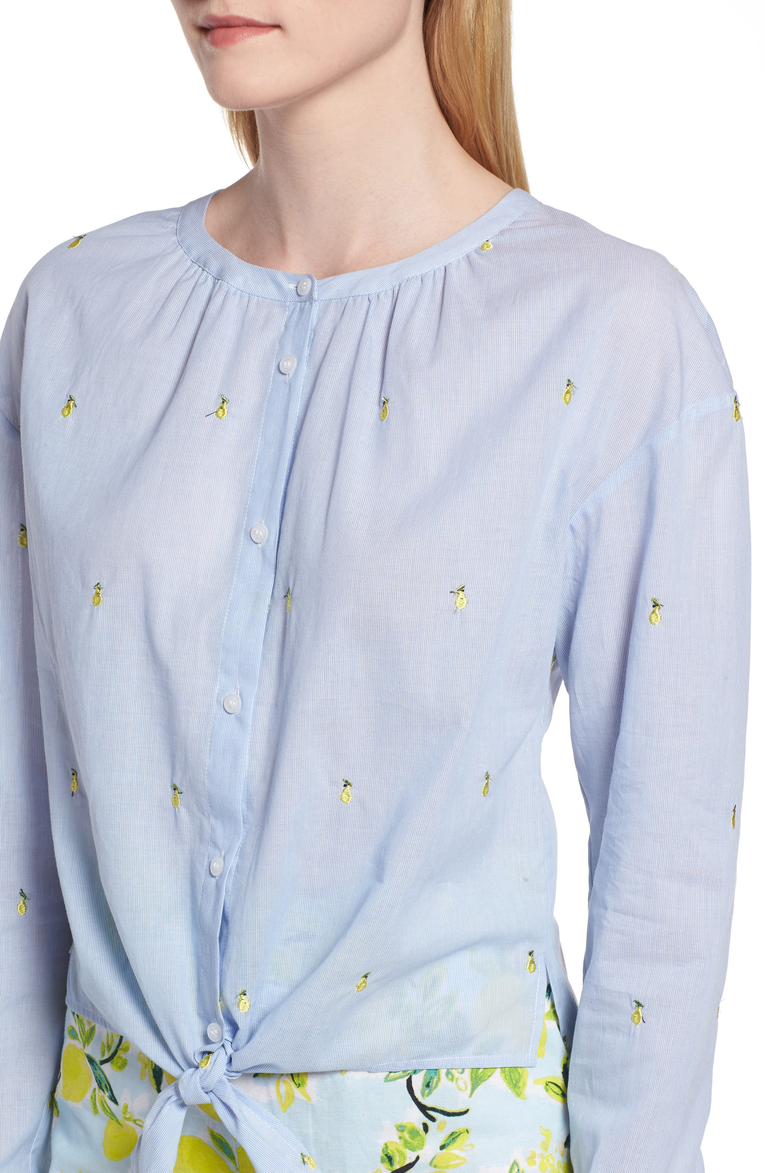 Embroidery Tie Front Cotton Top,                             Alternate thumbnail 4, color,                             Blue Mini Pear