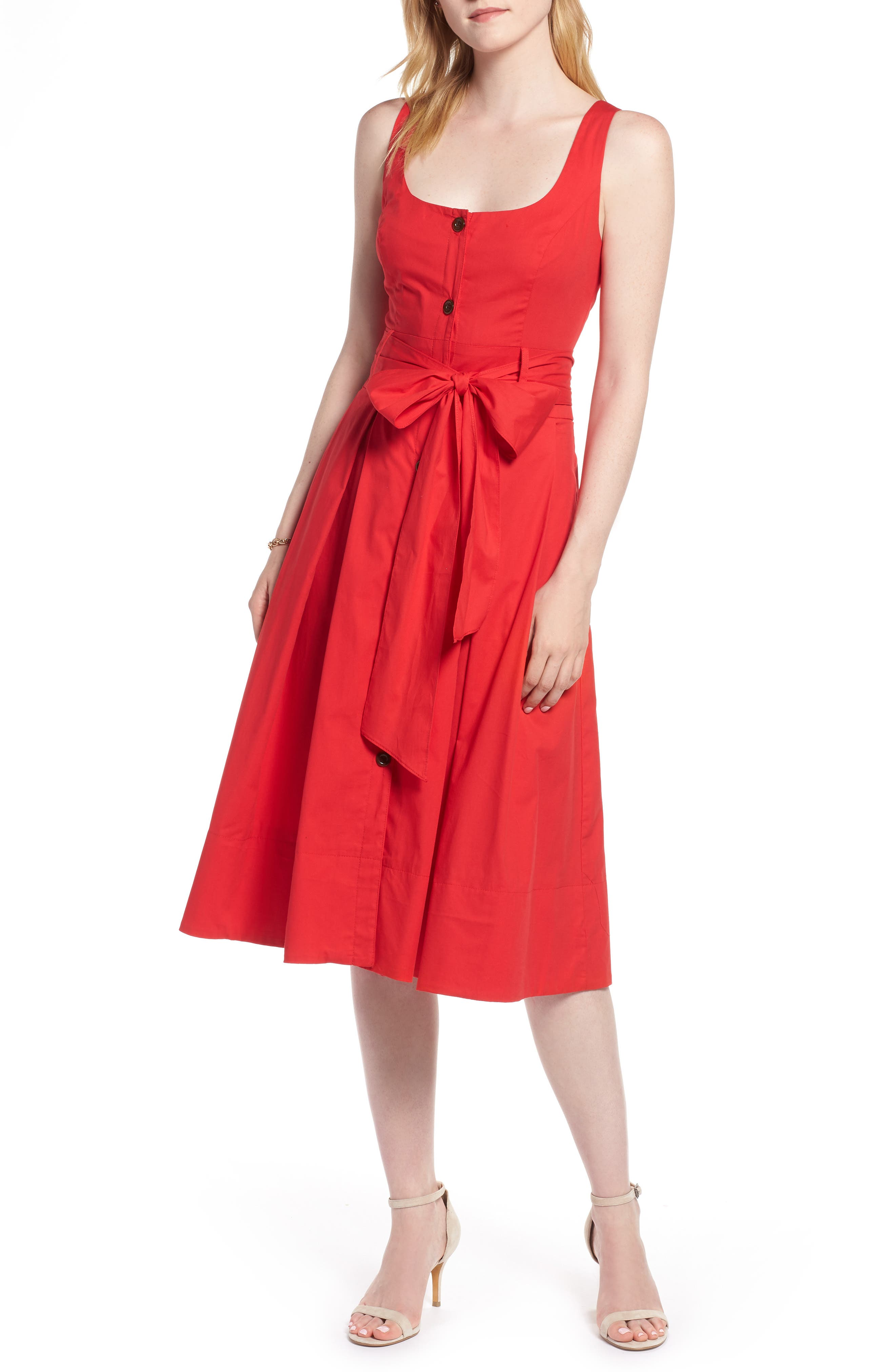 Button Front Fit & Flare Midi Dress,                             Main thumbnail 1, color,                             Red Saucy