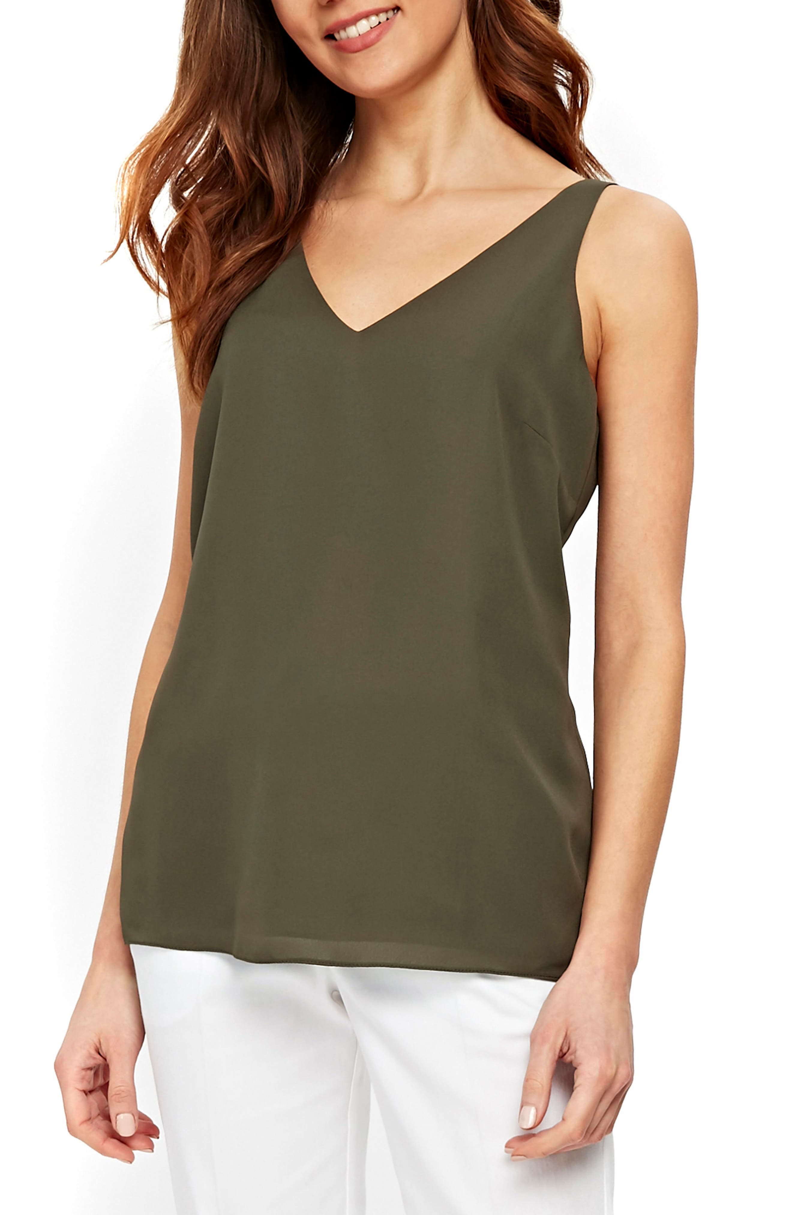 V-Neck Camisole Top,                         Main,                         color, Khaki