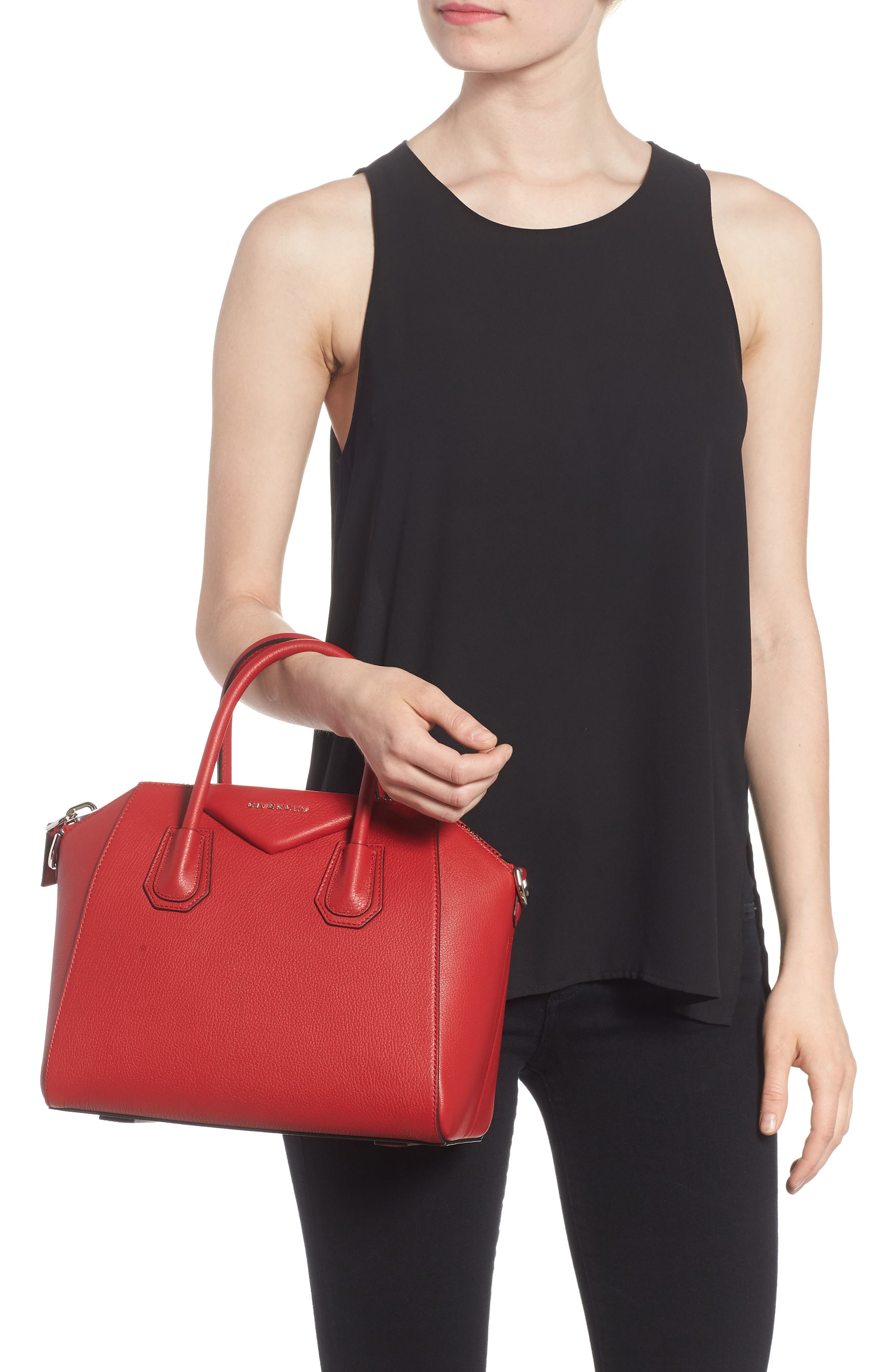 'Small Antigona' Leather Satchel,                             Alternate thumbnail 2, color,                             Bright Red
