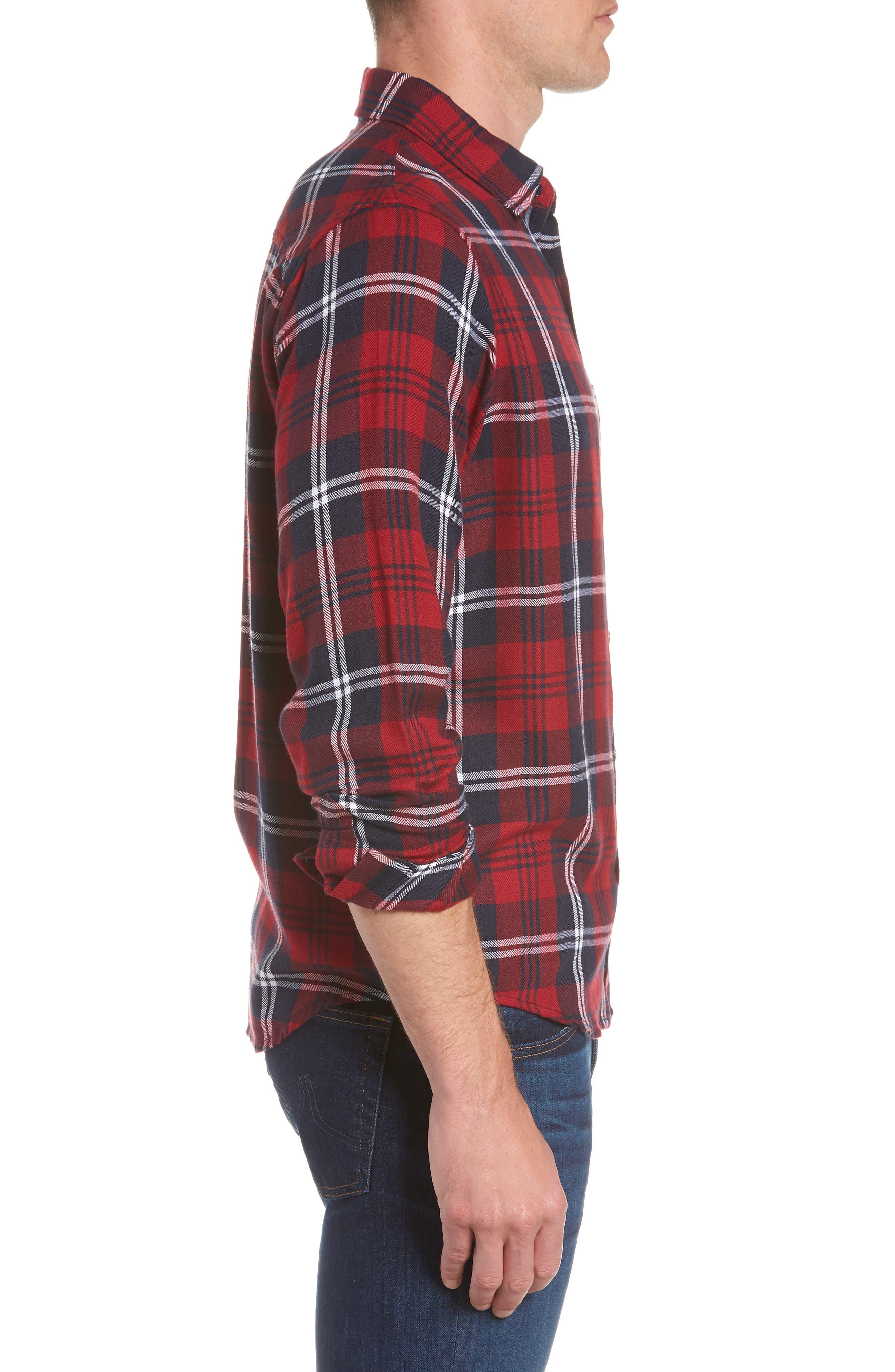 Lennox Sport Shirt,                             Alternate thumbnail 4, color,                             Red/ Navy/ White