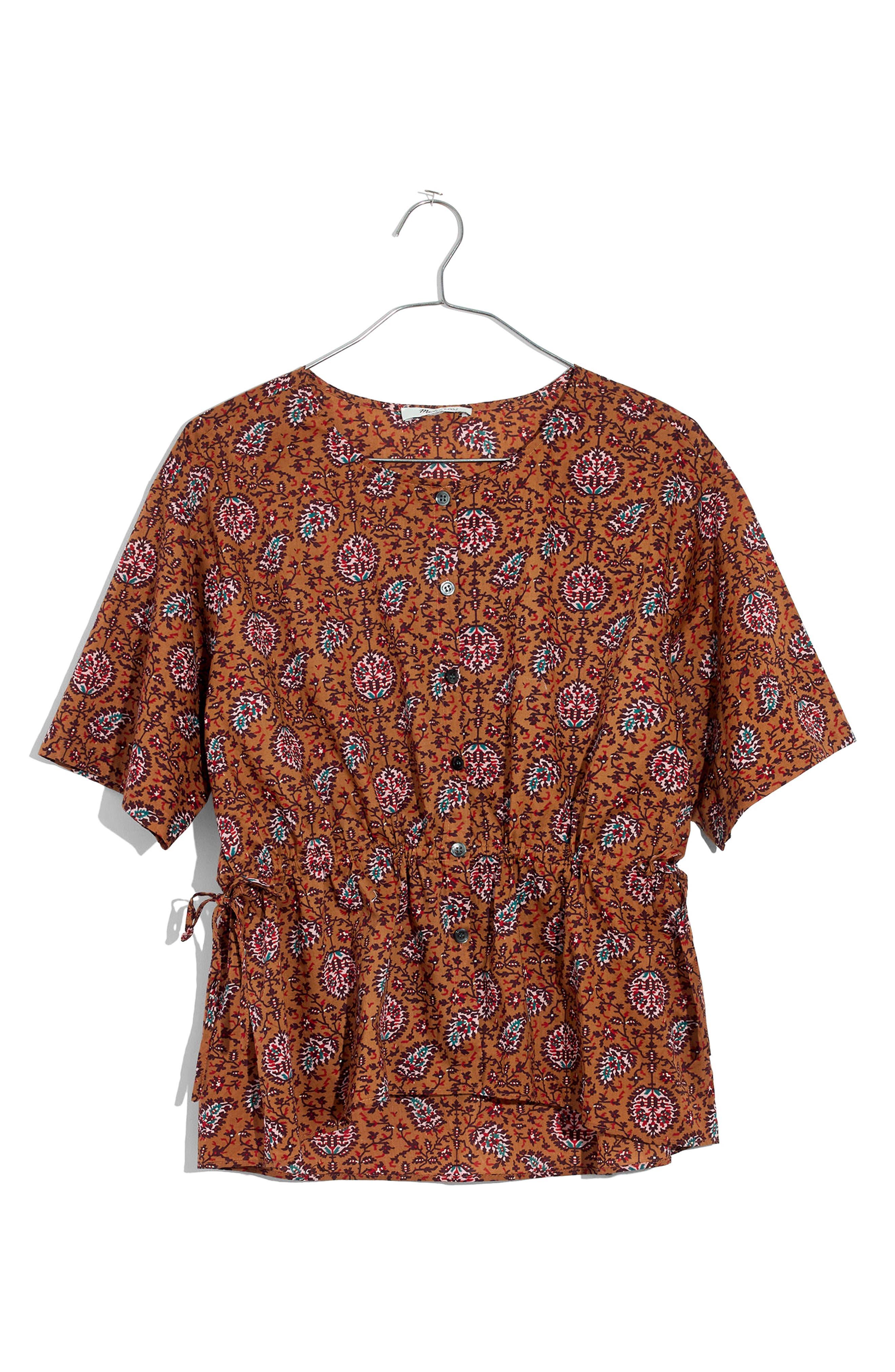 Drawstring Waist Shirt,                             Alternate thumbnail 4, color,                             Burnt Sienna