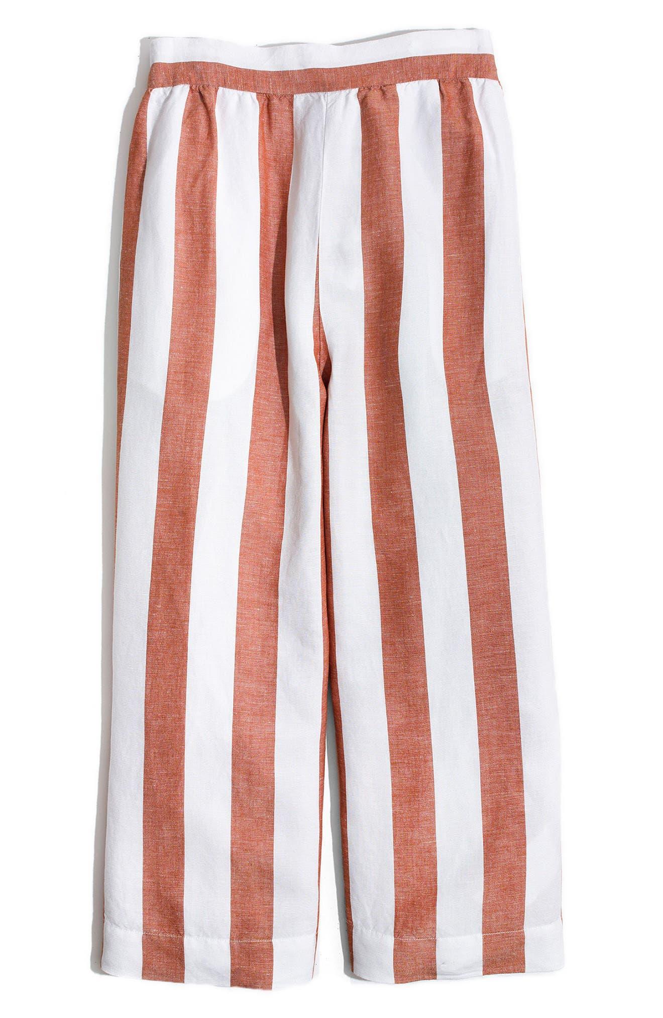 Huston Stripe Crop Pants,                             Alternate thumbnail 4, color,                             Burnt Orange