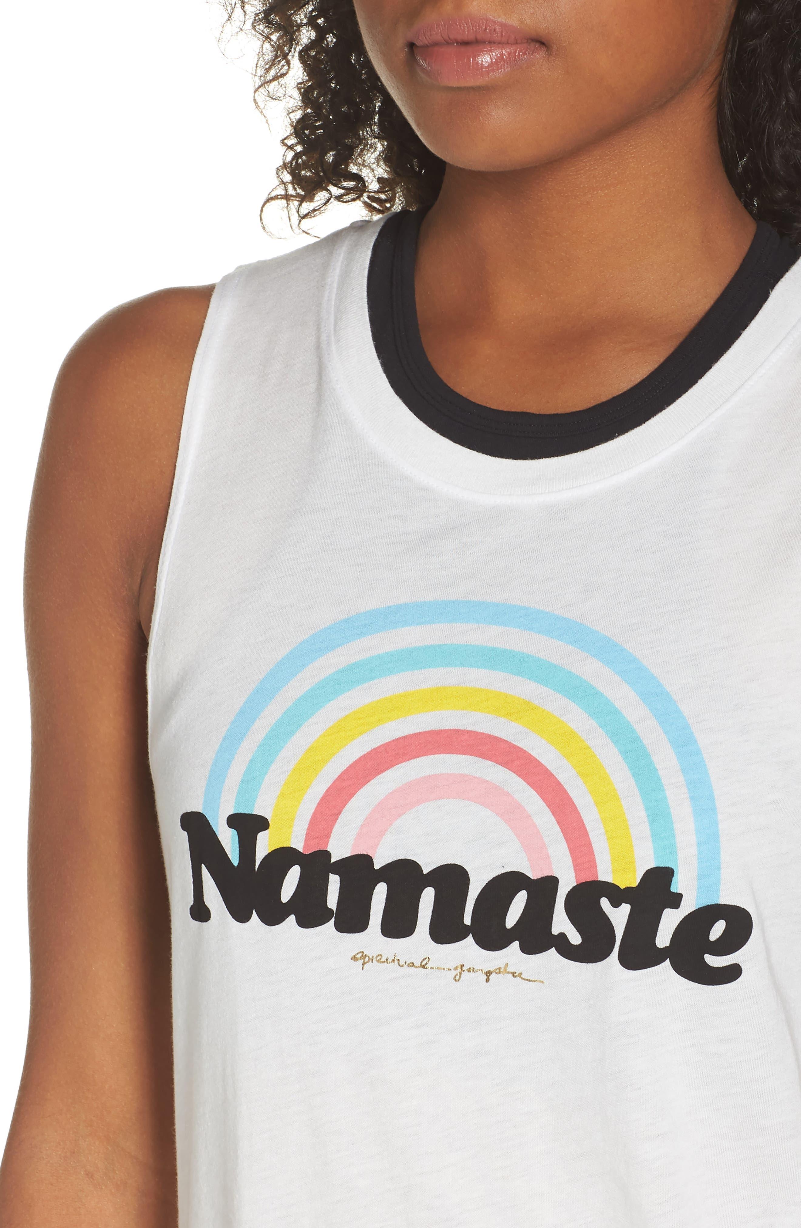 Rainbow Namaste Muscle Tee,                             Alternate thumbnail 4, color,                             Stardust