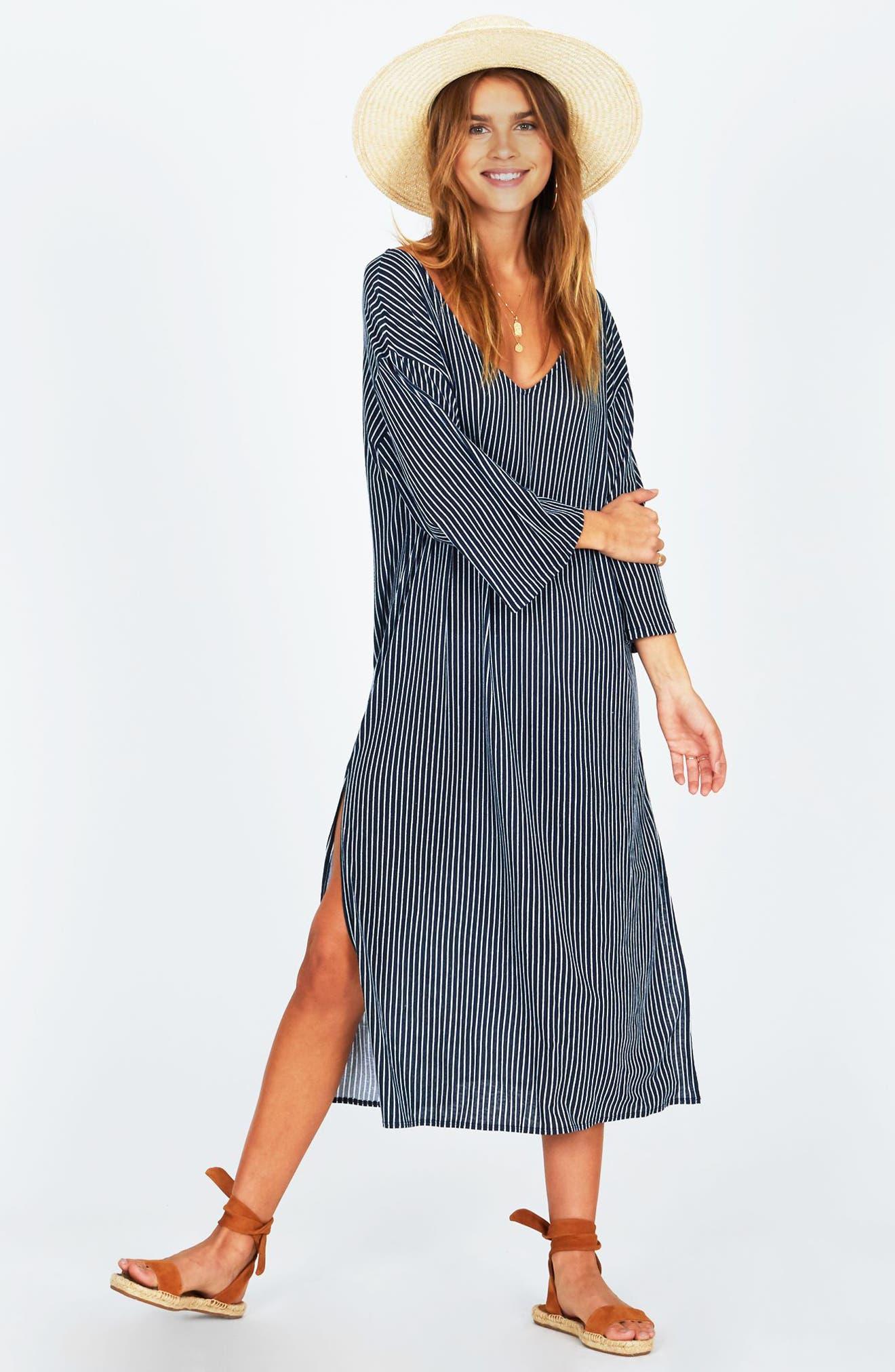 Morning Fog Midi Dress,                             Alternate thumbnail 2, color,                             Dark Navy