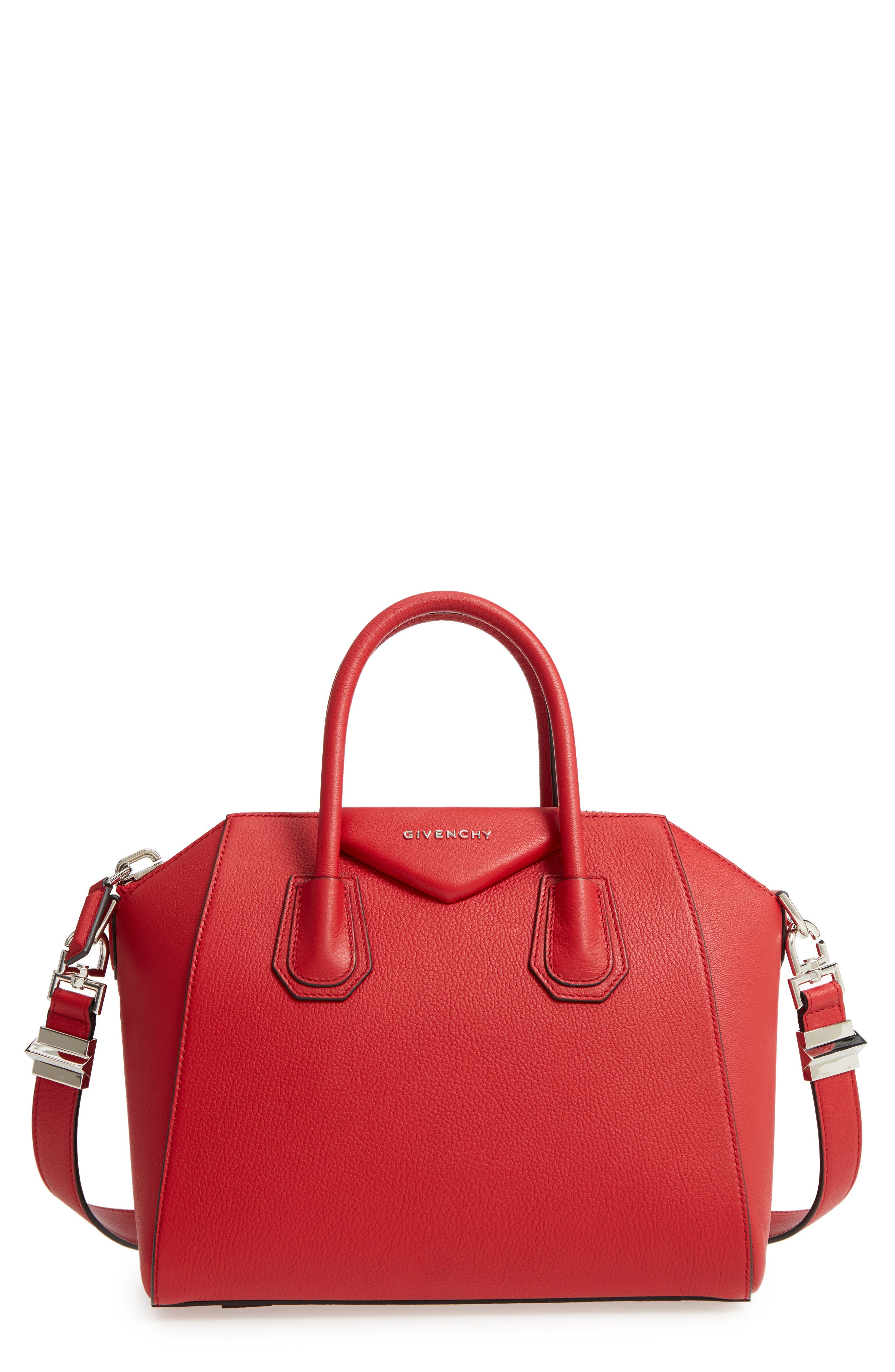 'Small Antigona' Leather Satchel,                         Main,                         color, Bright Red