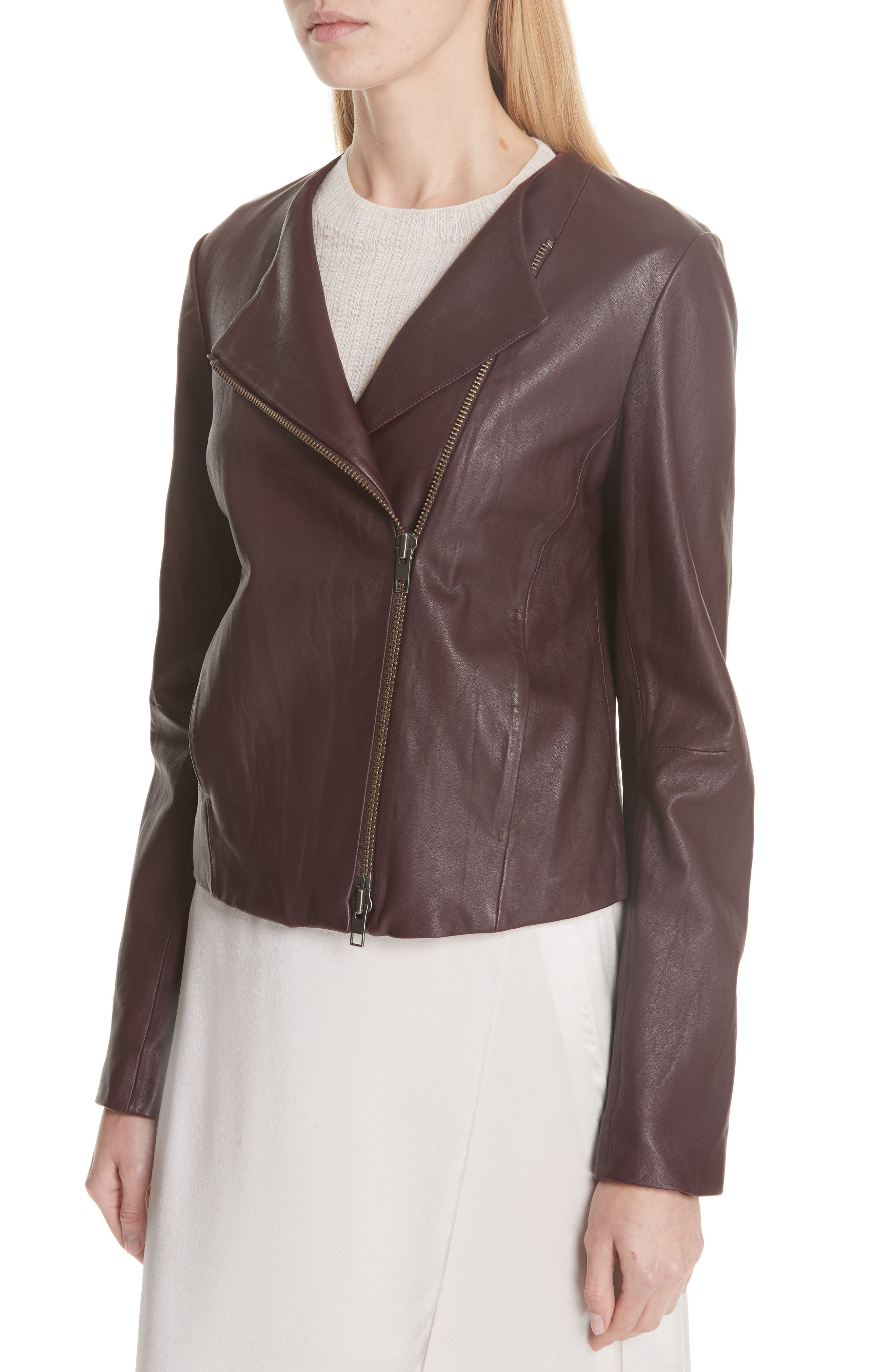 Zip Cross Front Leather Jacket,                             Alternate thumbnail 3, color,                             Black Cherry