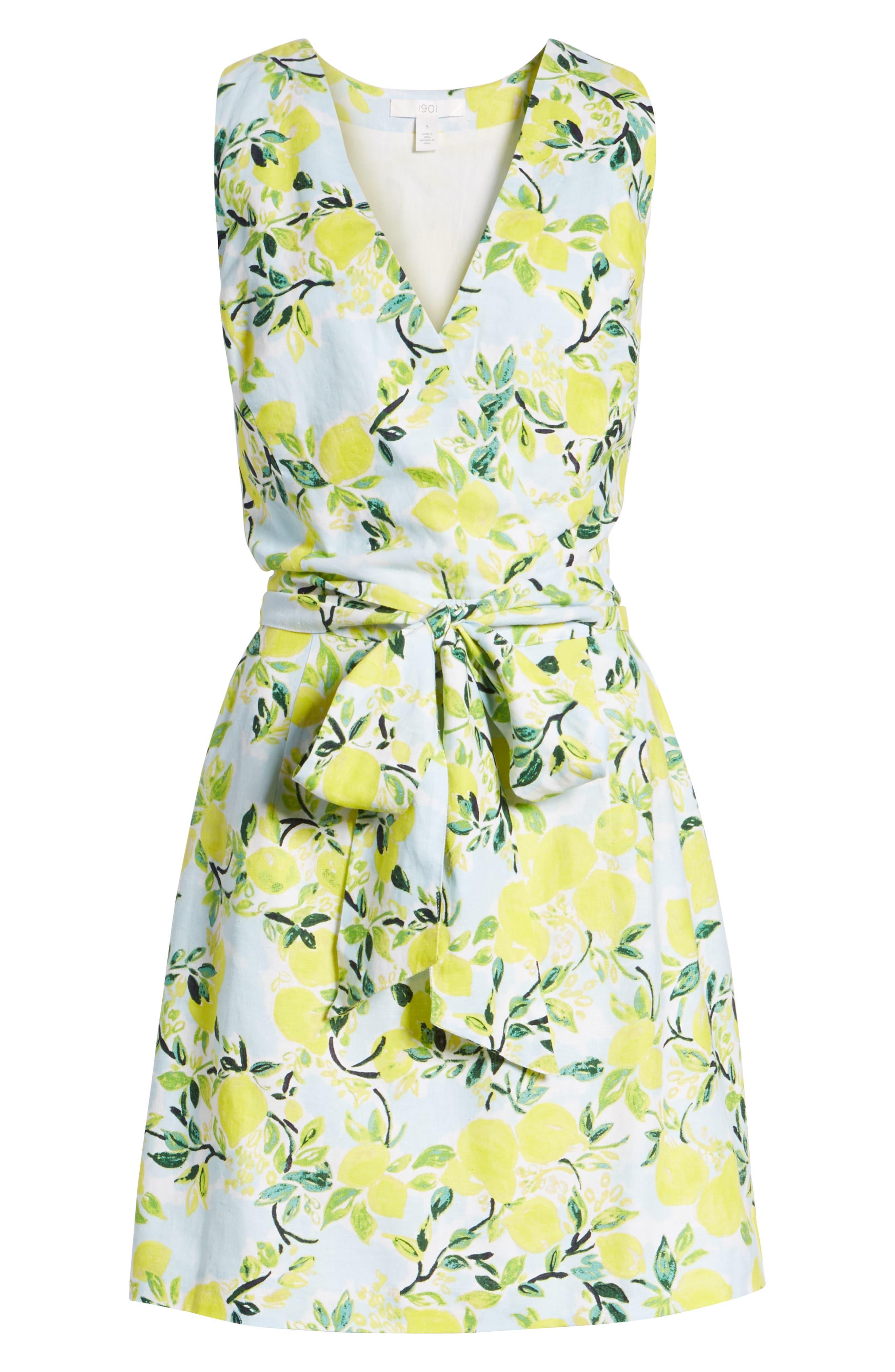 Tie Front Lemon Print Mini Dress,                             Alternate thumbnail 7, color,                             Blue- Yellow Citrus Print