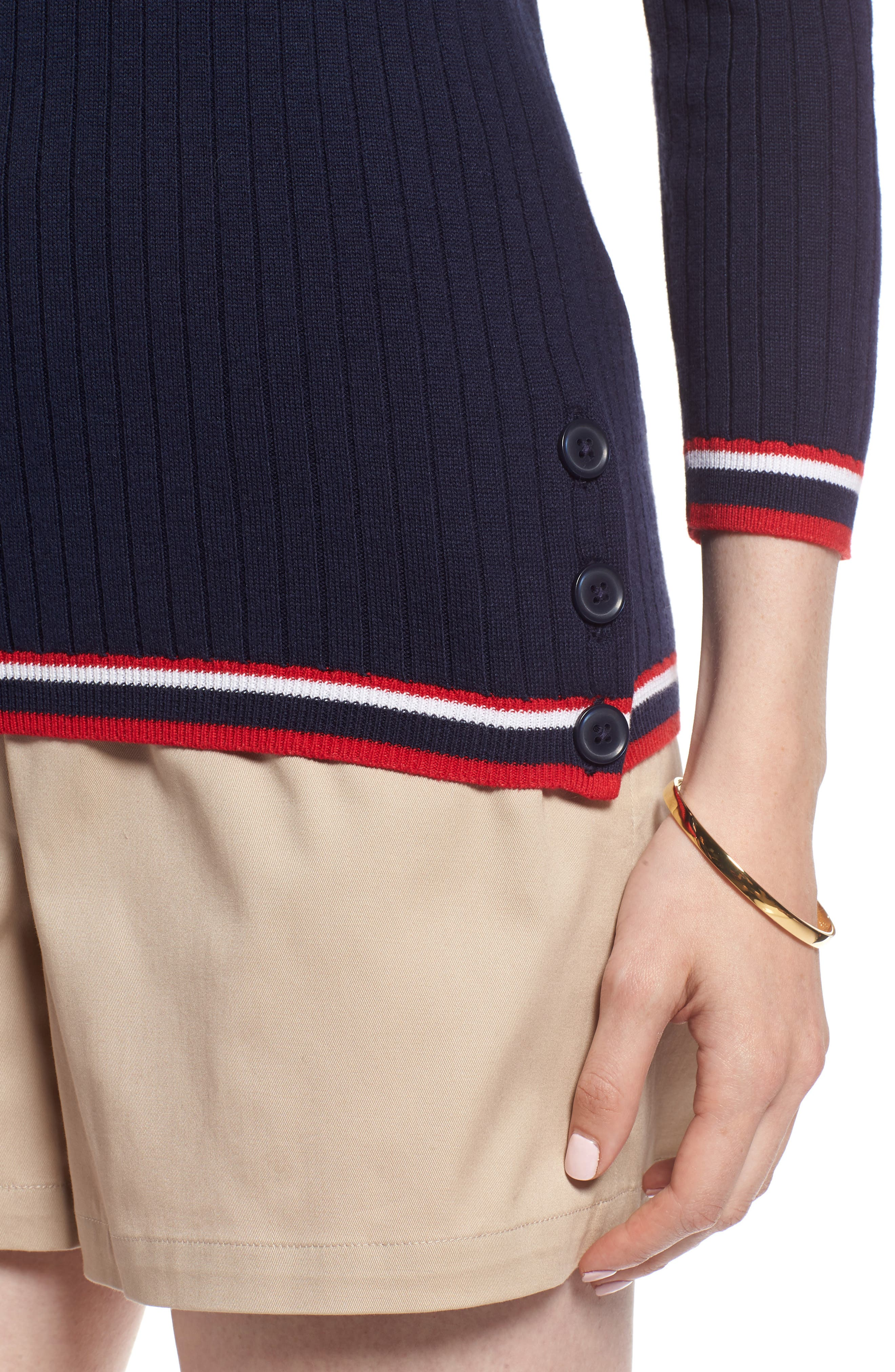 Tipped Cotton Blend Ribbed Sweater,                             Alternate thumbnail 4, color,                             Navy Peacoat