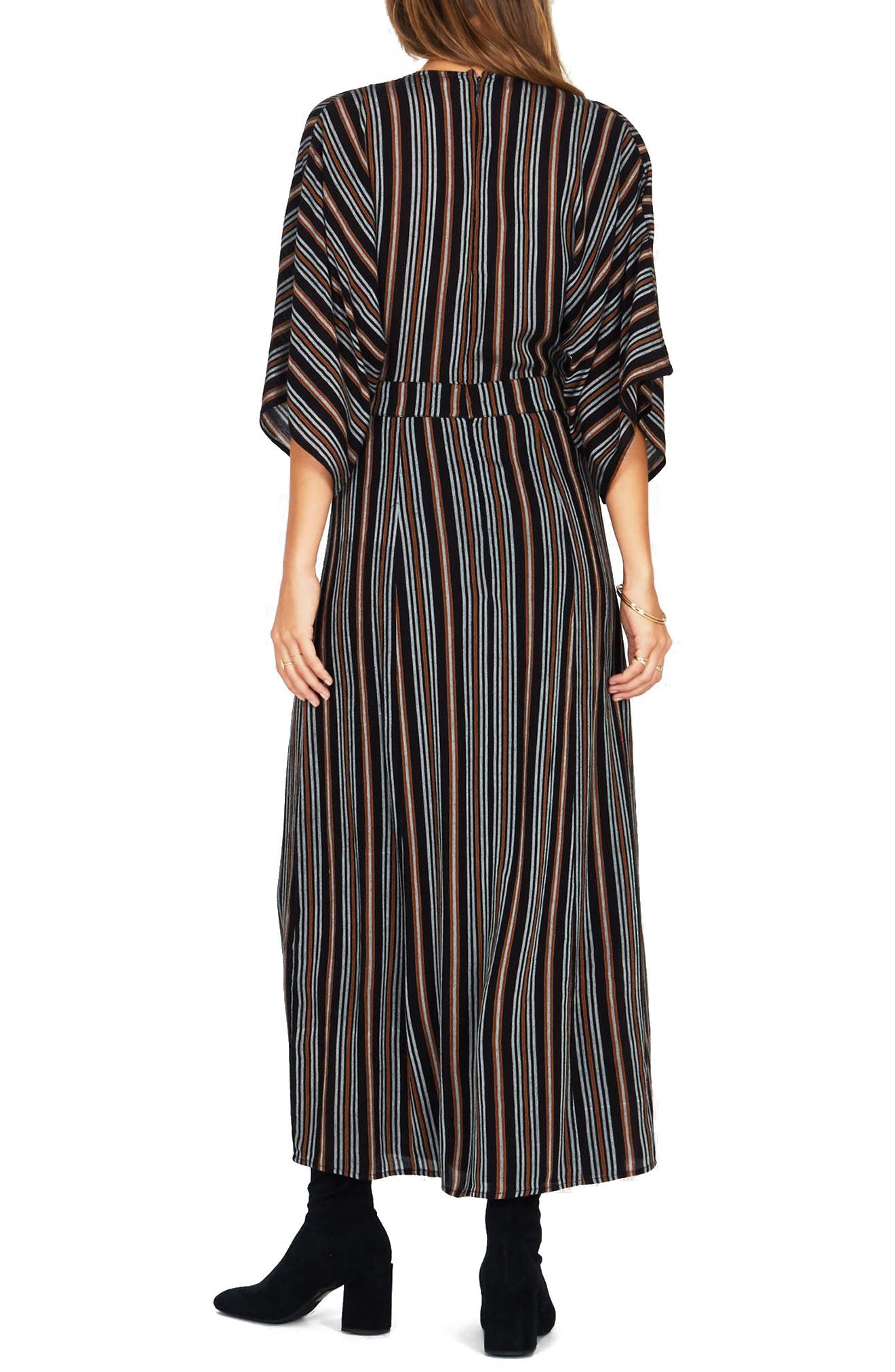 Forever & Day Stripe Maxi Dress,                             Alternate thumbnail 3, color,                             Black