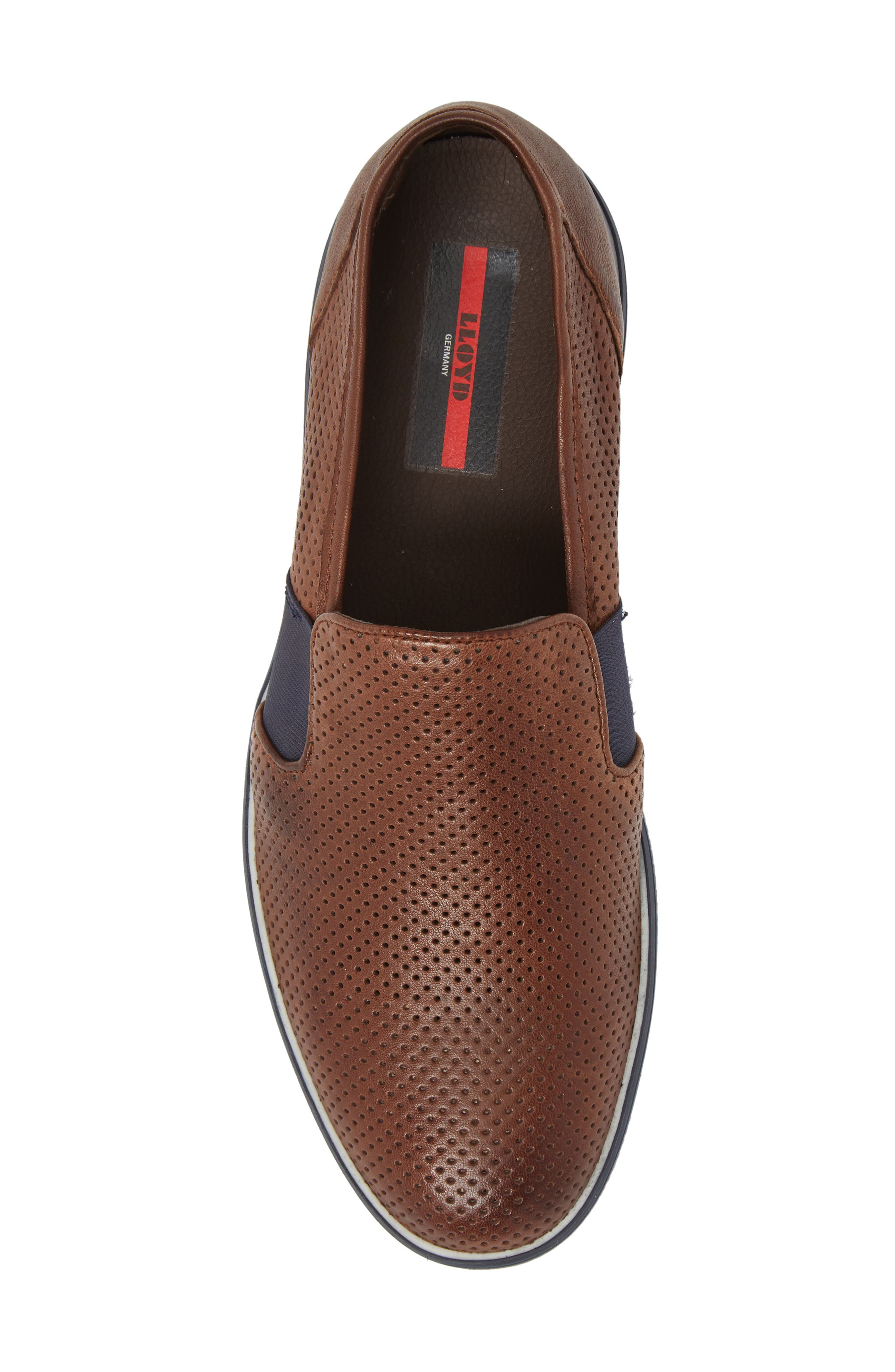 Alister Perforated Loafer,                             Alternate thumbnail 5, color,                             Tobacco Leather