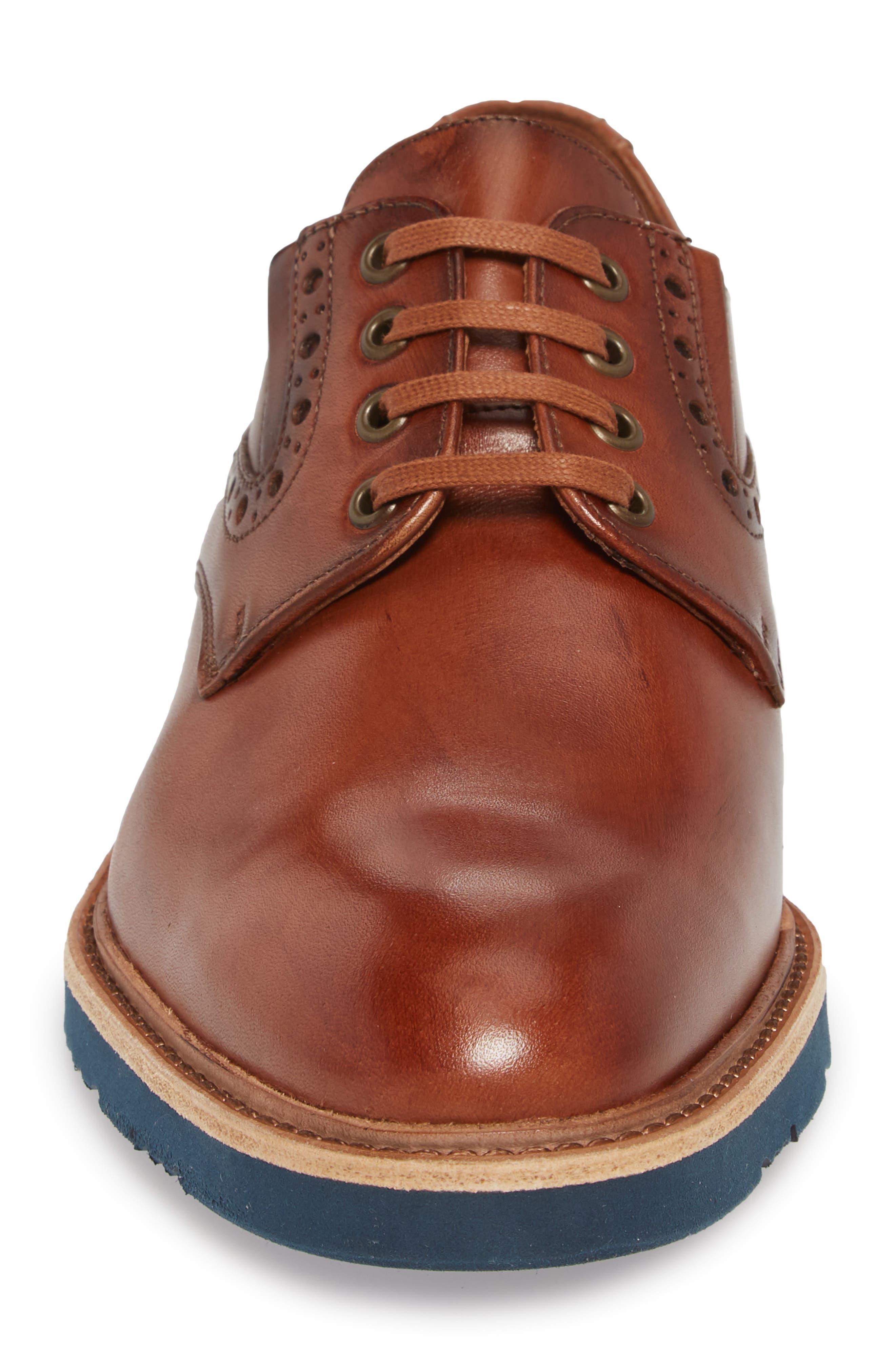 Kandy Plain Toe Derby,                             Alternate thumbnail 4, color,                             Cognac Leather