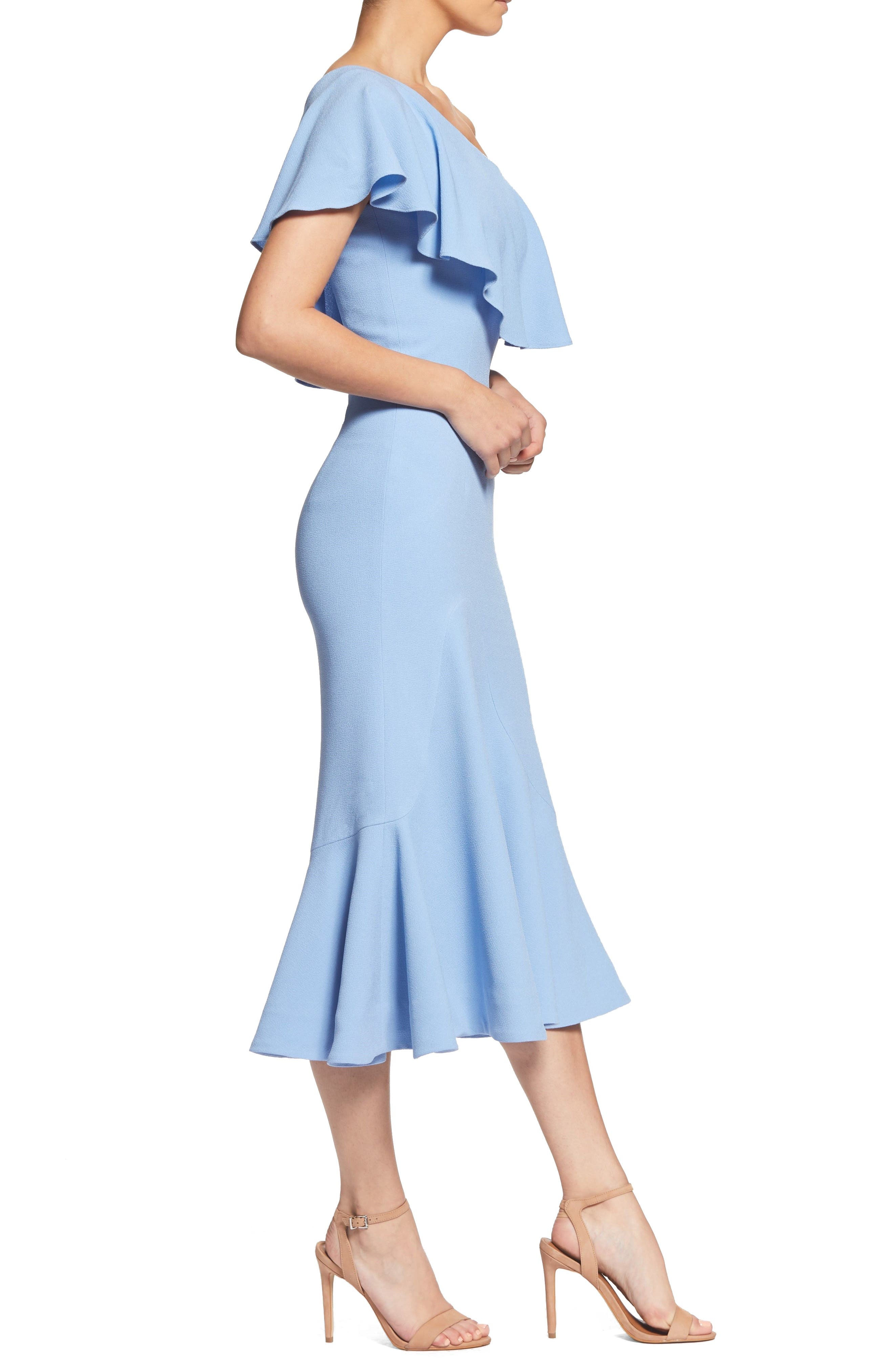 Raquel One-Shoulder Trumpet Dress,                             Alternate thumbnail 4, color,                             Ice Blue