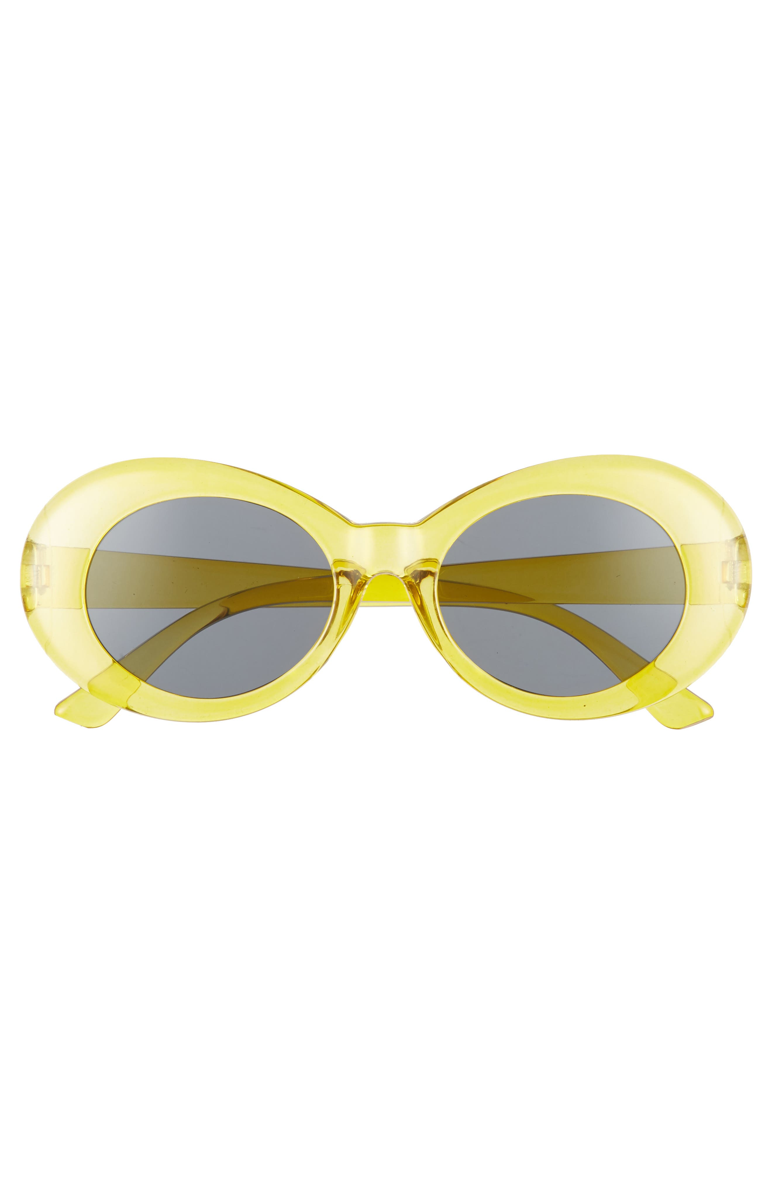 50mm Round Sunglasses,                             Alternate thumbnail 3, color,                             Clear Yellow