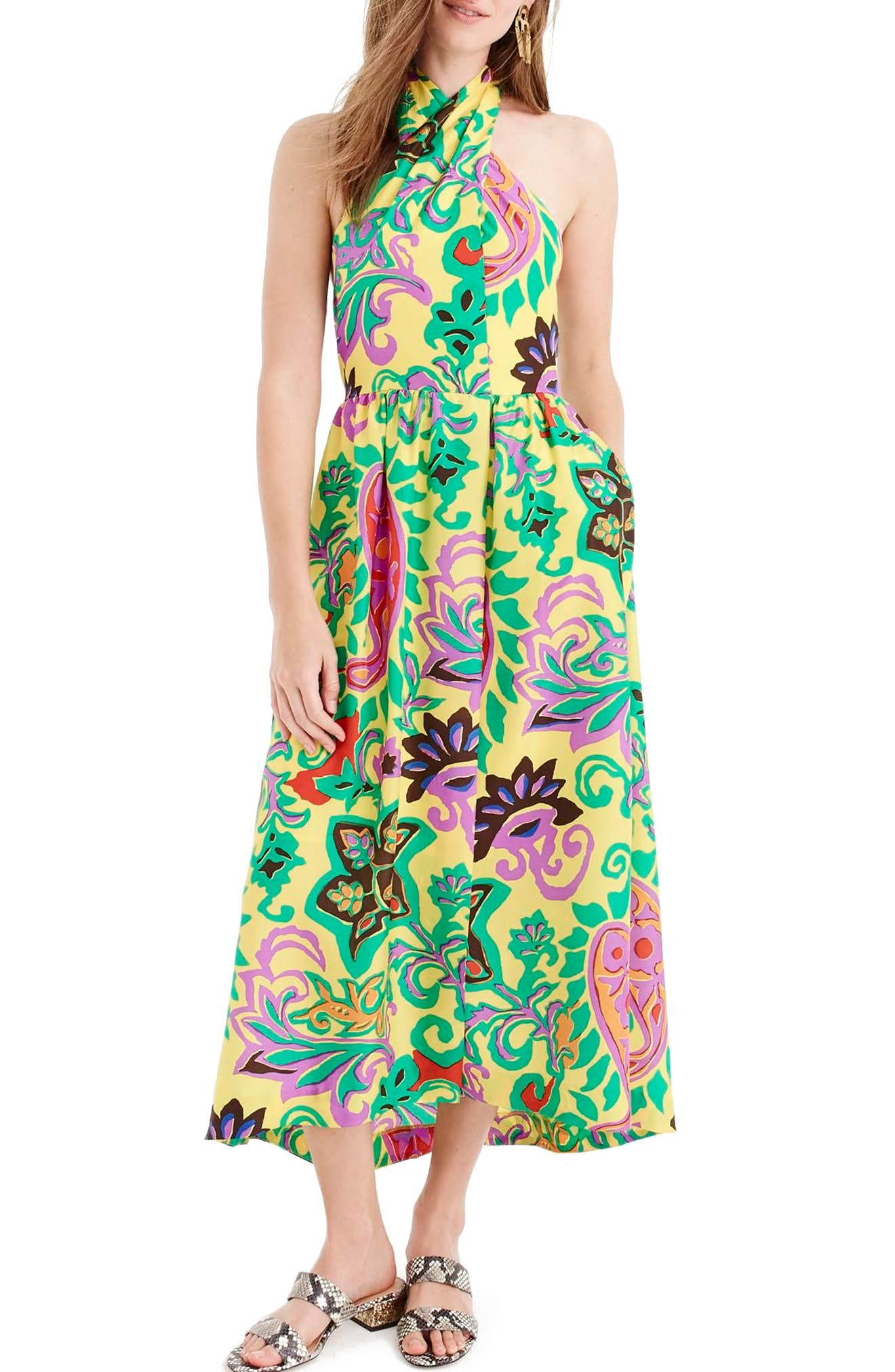 Paisley Silk Maxi Sarong Dress,                             Main thumbnail 1, color,                             Green Violet Multi
