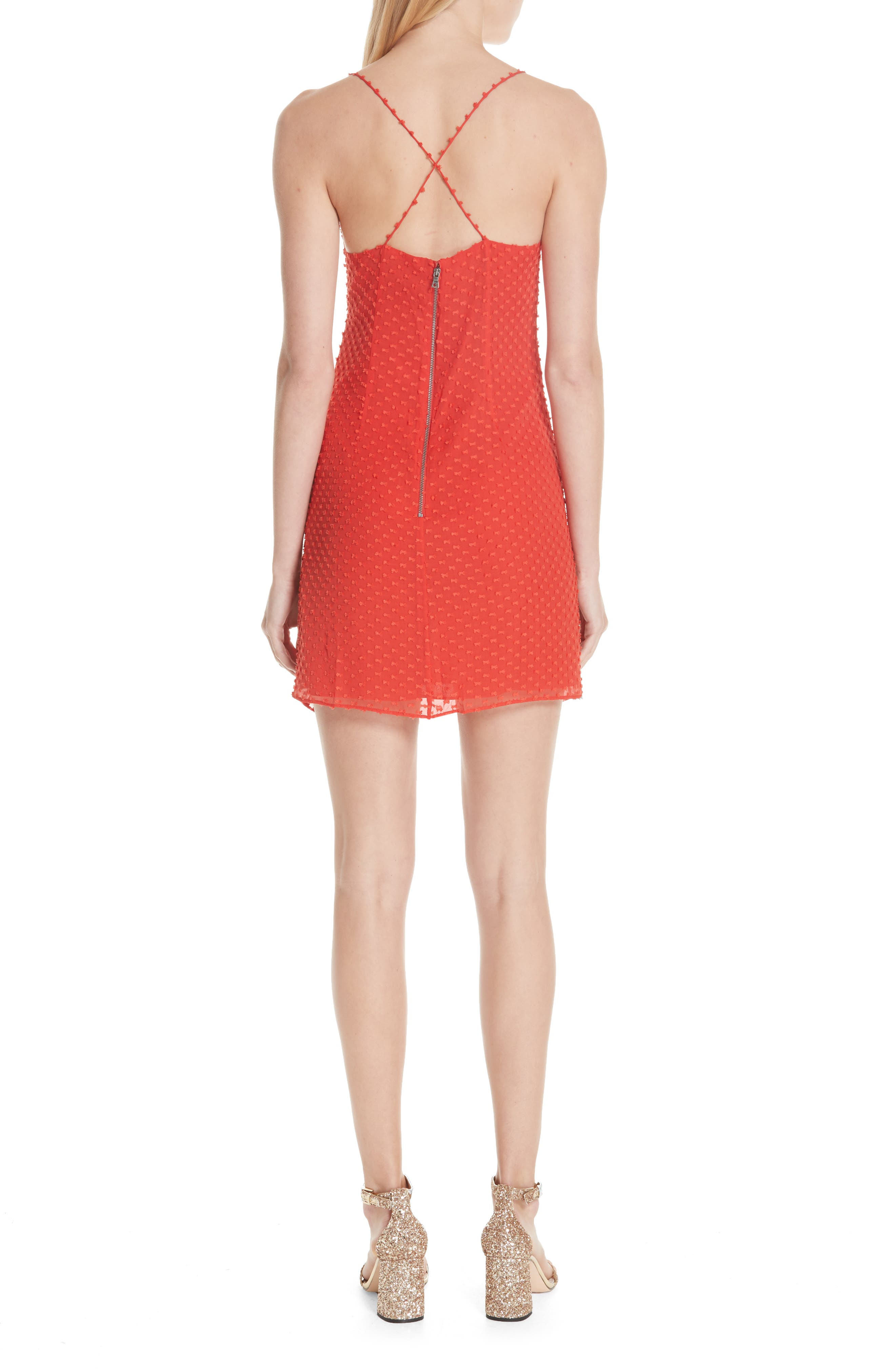 Daria Ruched Flare Silk Cotton Dress,                             Alternate thumbnail 2, color,                             Perfect Poppy