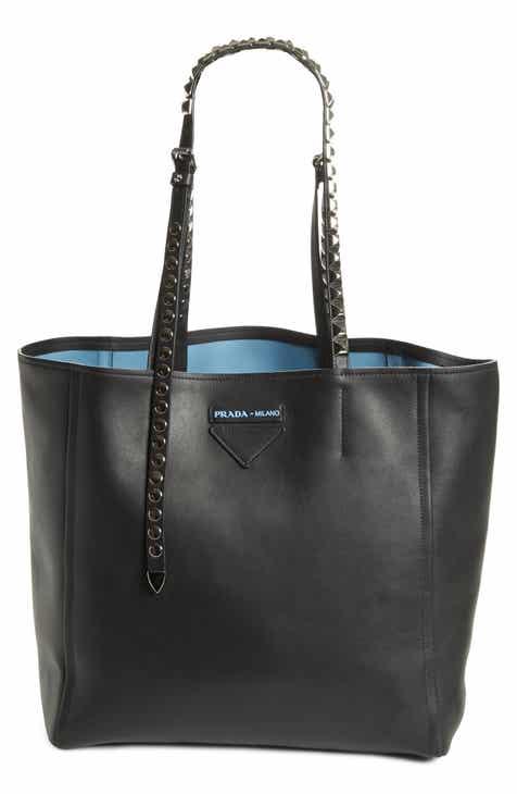 8cf95145d0d4 Prada Concept Studded Strap Calfskin Leather Tote