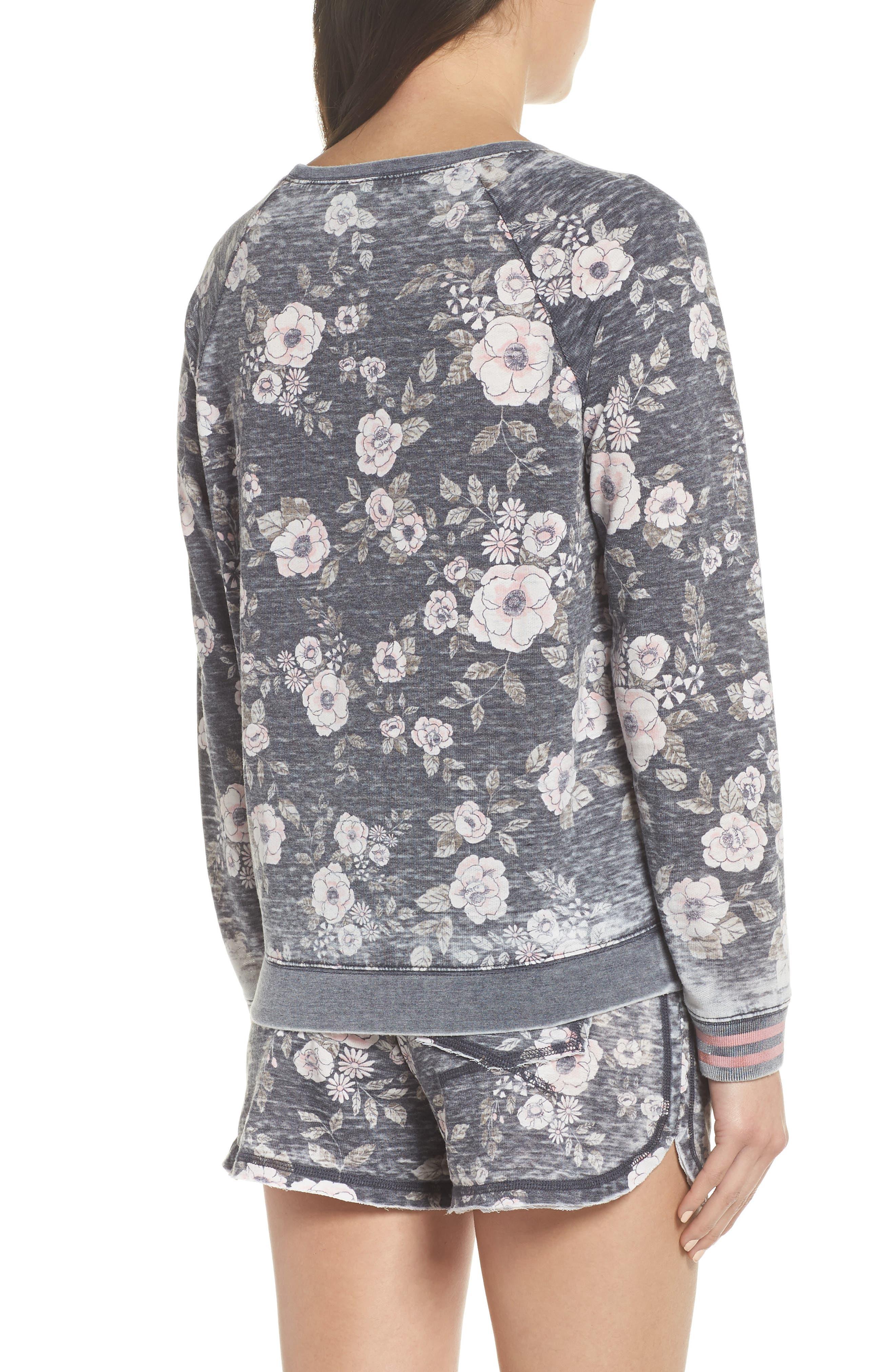 Burnout Lounge Sweatshirt,                             Alternate thumbnail 2, color,                             Pink Aura Floral