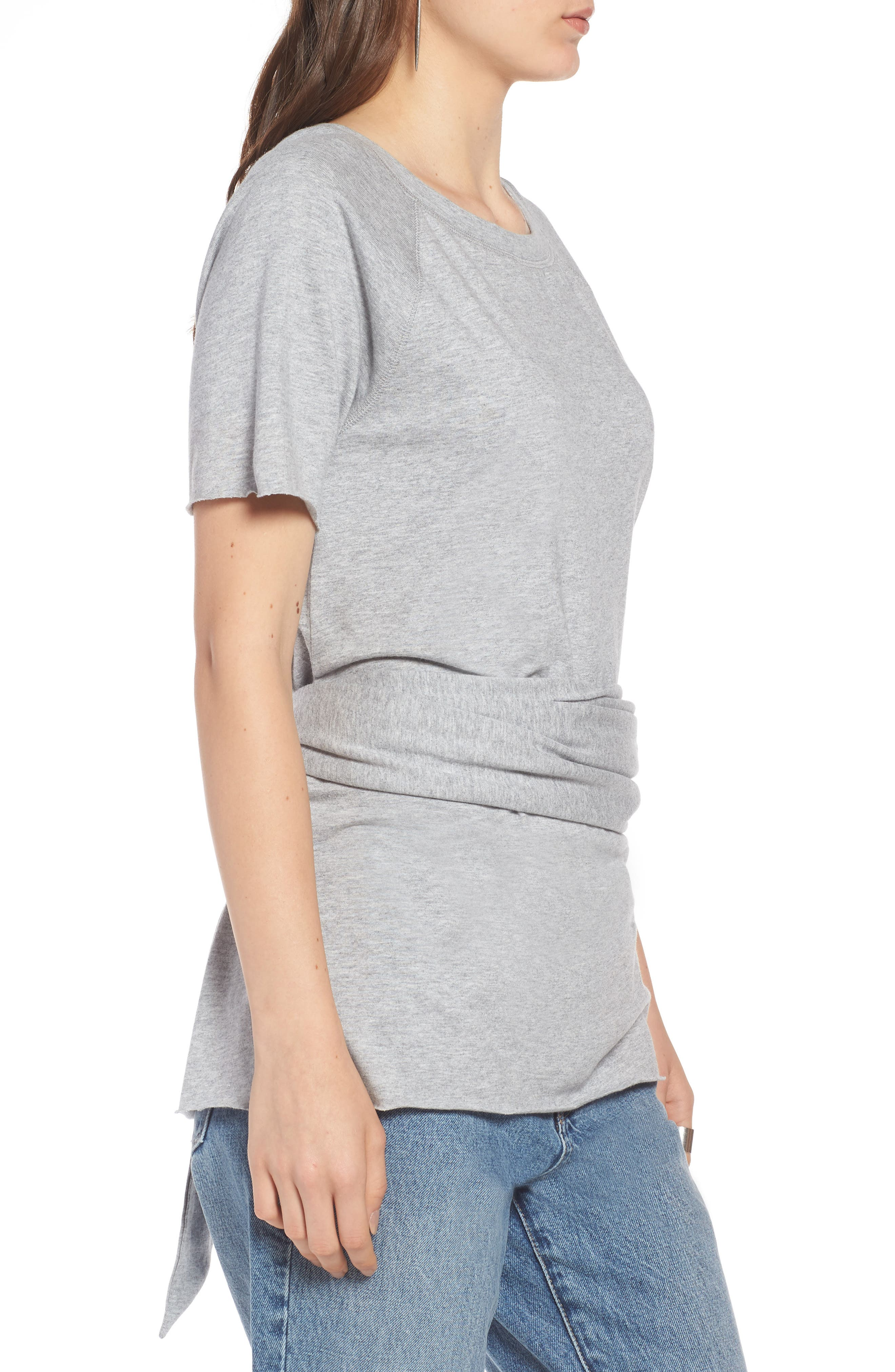 Tie Back Tee,                             Alternate thumbnail 3, color,                             Grey Heather