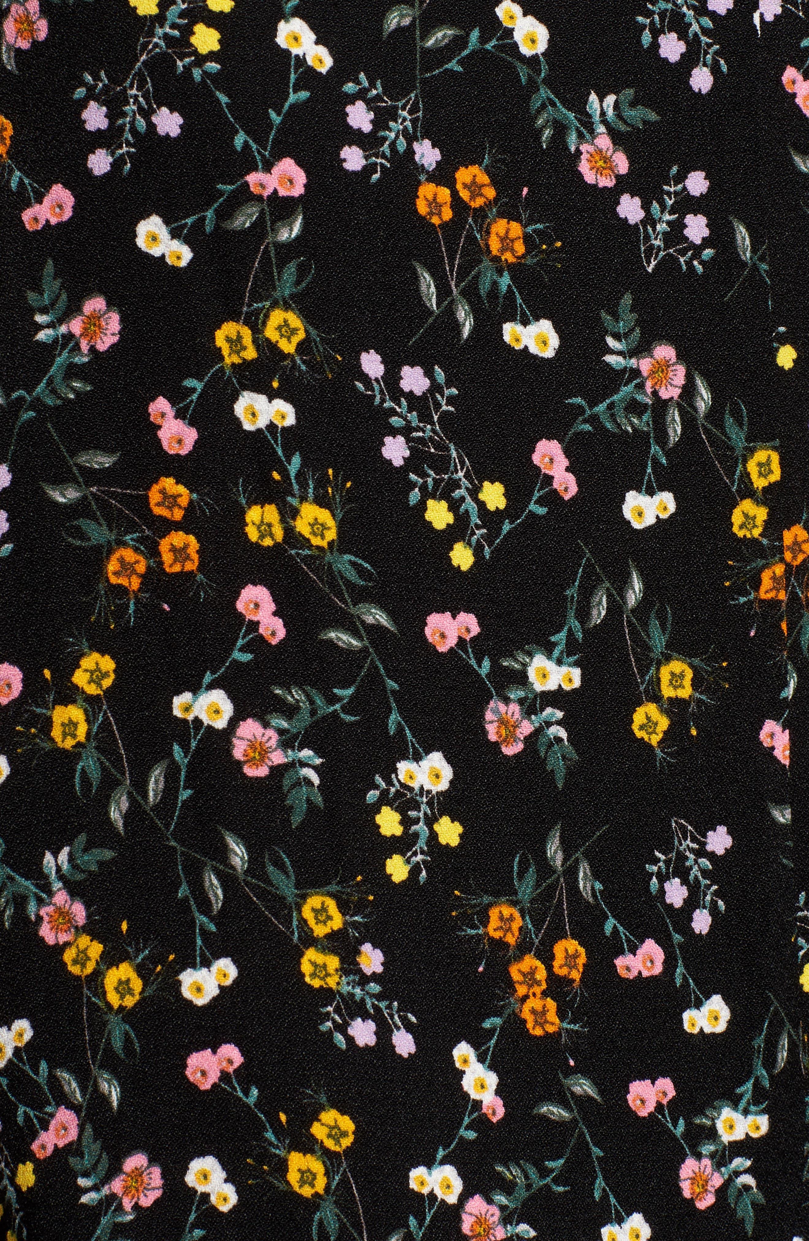 Alessandra Maxi Skirt,                             Alternate thumbnail 5, color,                             Noir Petite Fleur