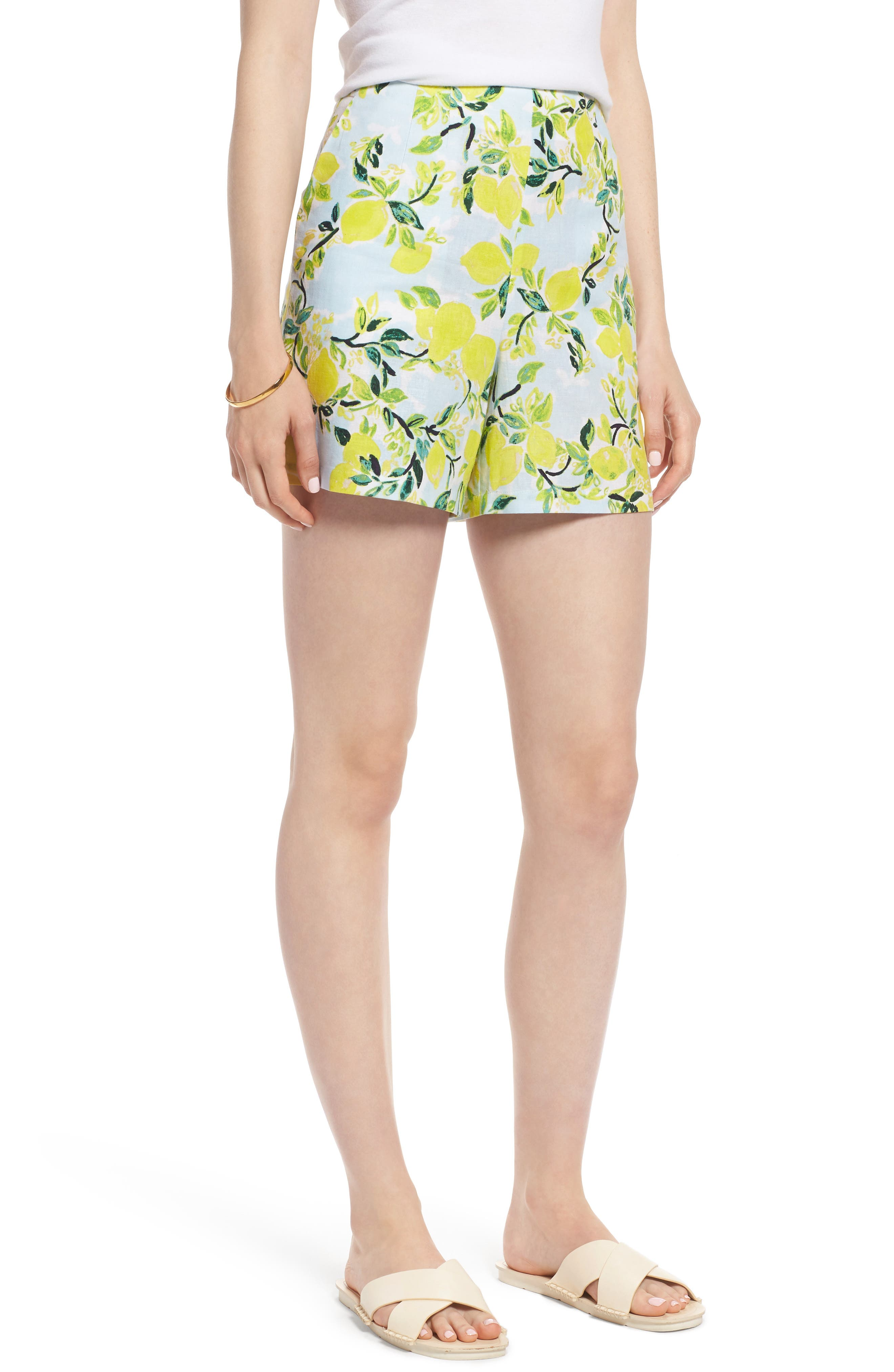 Print Linen Blend Shorts,                             Main thumbnail 1, color,                             Blue- Yellow Citrus Print