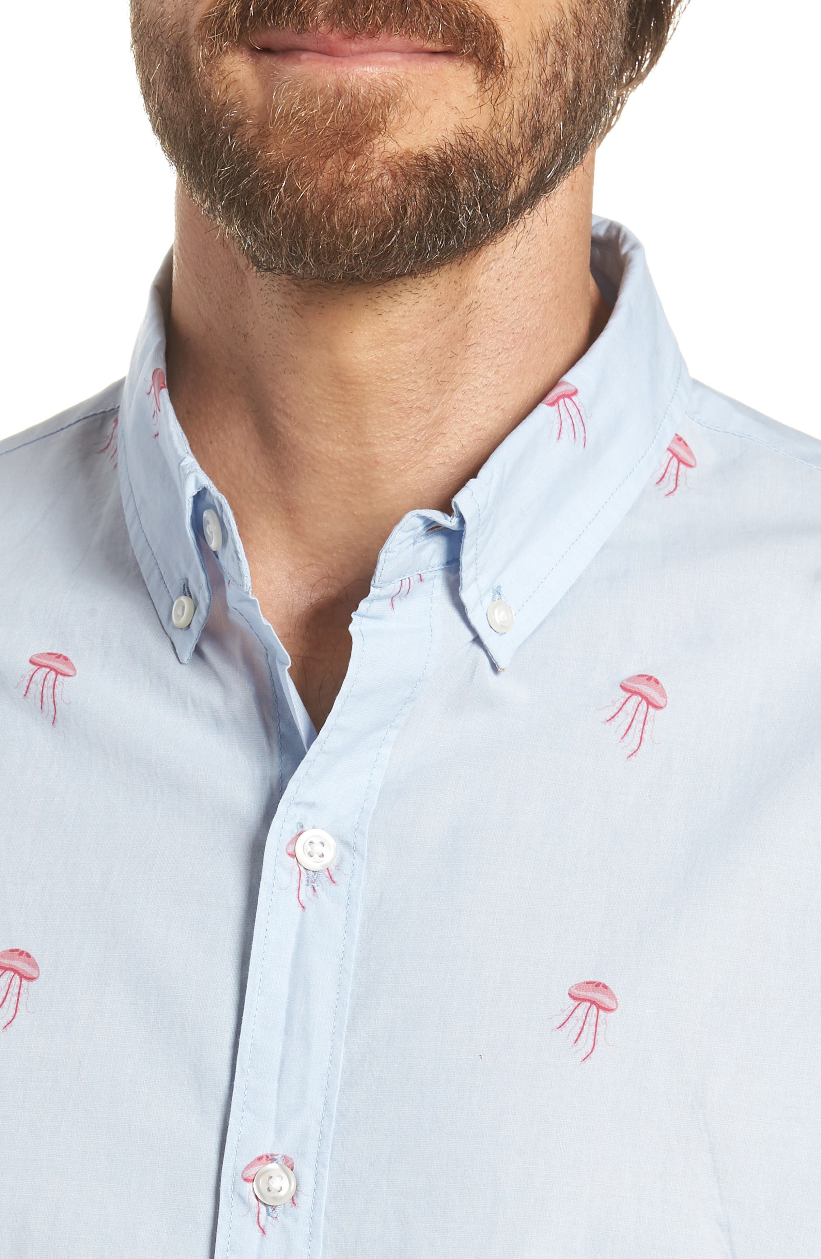 Summerweight Slim Fit Jellyfish Print Sport Shirt,                             Alternate thumbnail 2, color,                             Little Jelly - Peony Coral