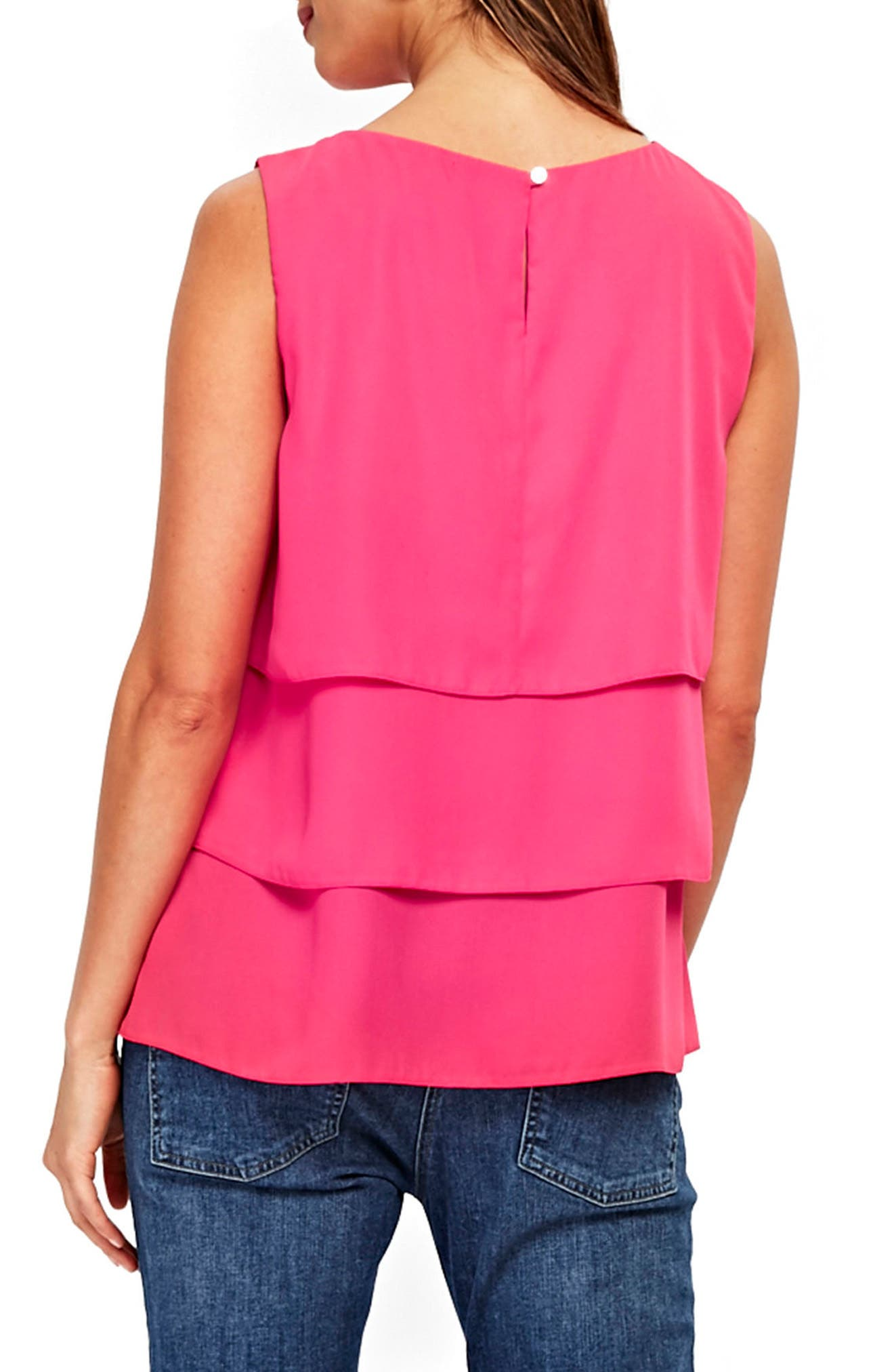 Tiered Sleeveless Top,                             Alternate thumbnail 2, color,                             Bright Pink