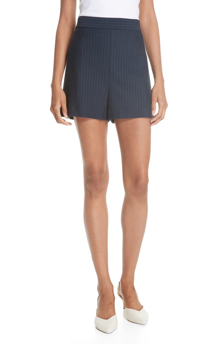 Pinstripe Knit High Waisted Shorts