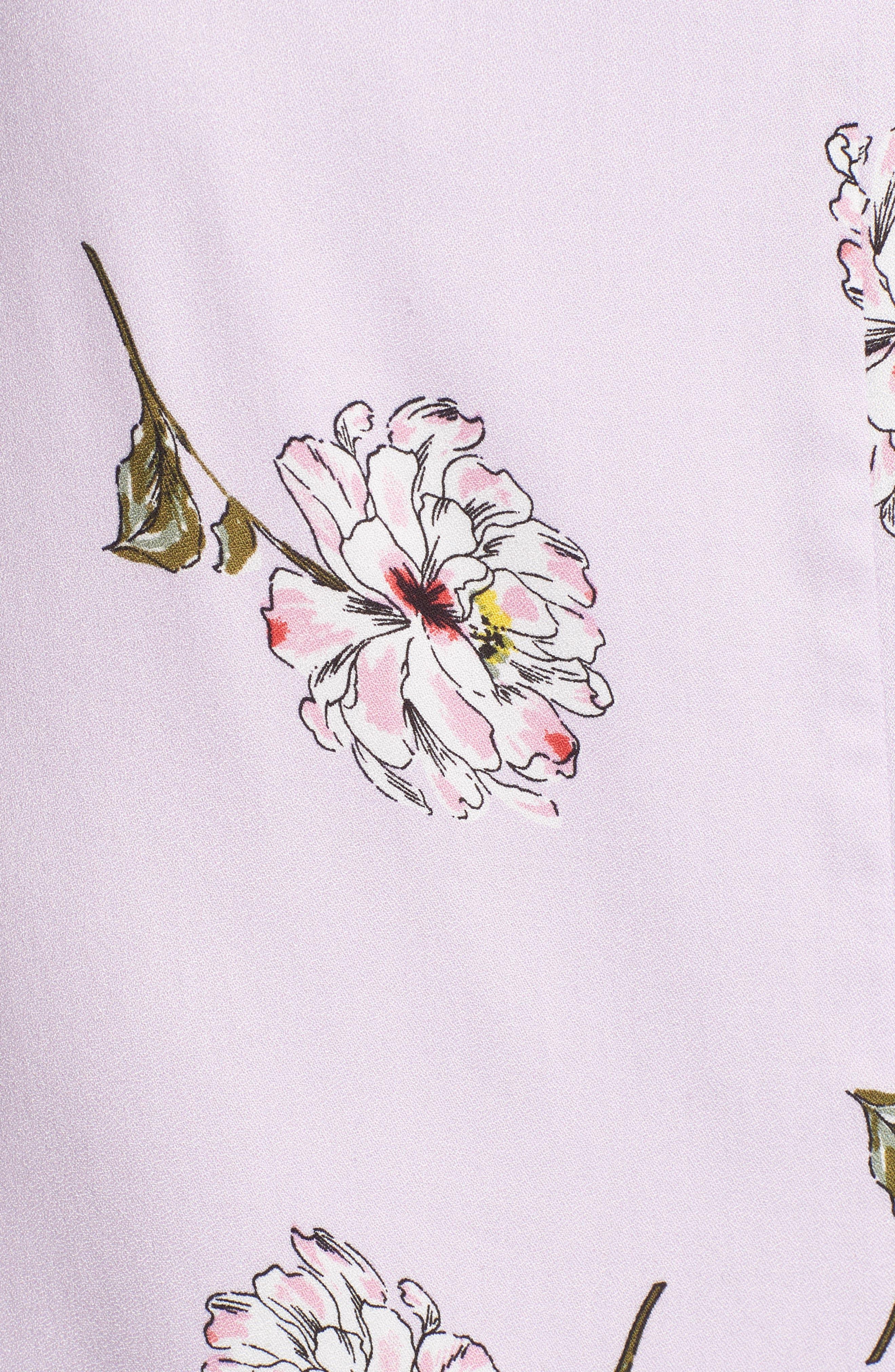 Cutout Tie Front Maxi Dress,                             Alternate thumbnail 6, color,                             Lavender Floral